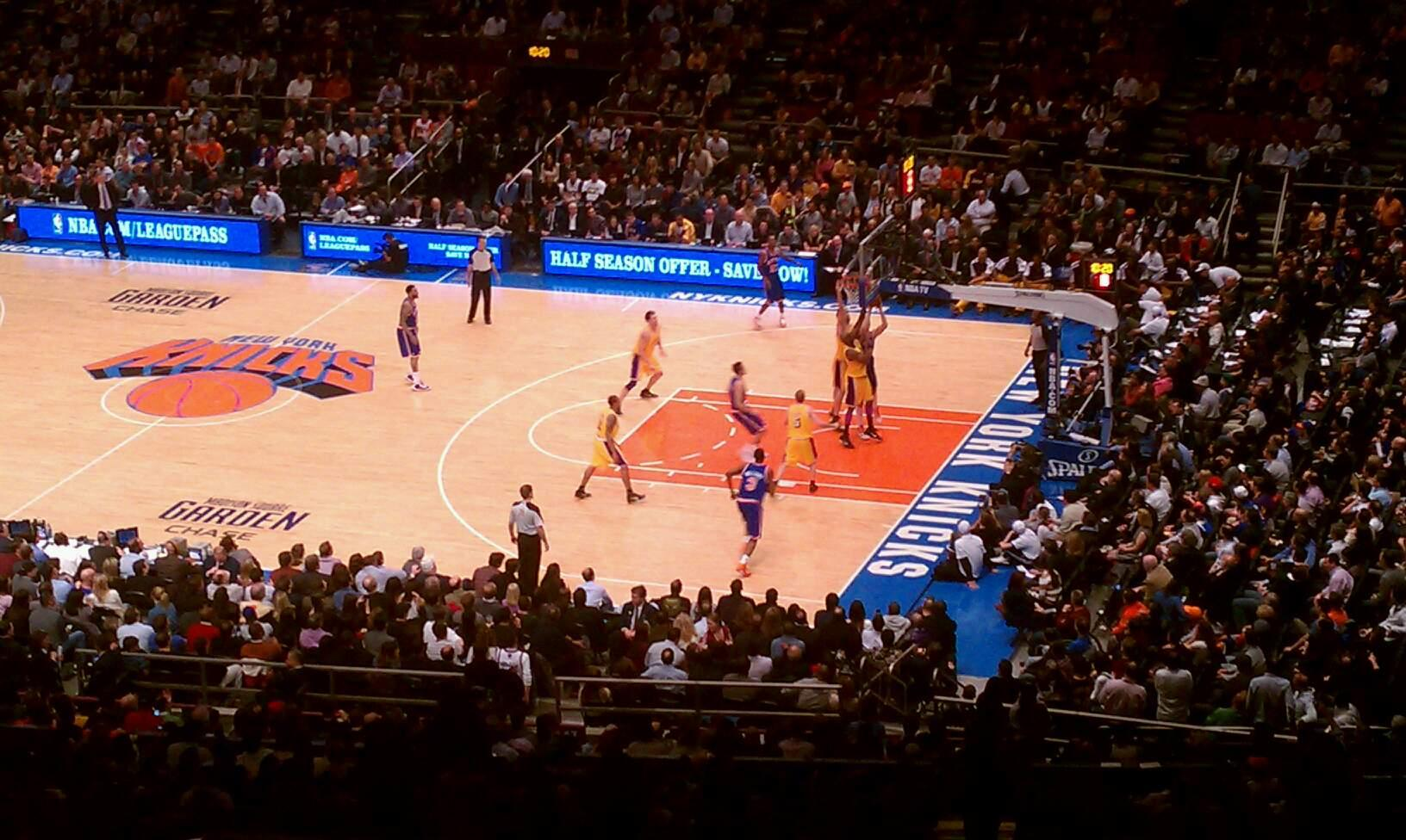 Madison Square Garden Section 403 Row B Seat 7 New York Knicks Vs Los Angeles Lakers Shared By