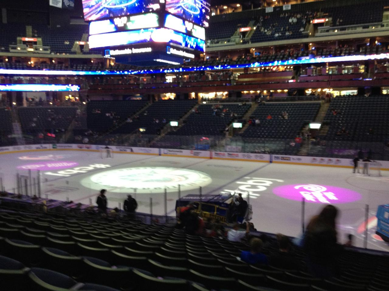 Columbus Blue Jackets Seat View for Nationwide Arena Section 102, Row U, Seat 3