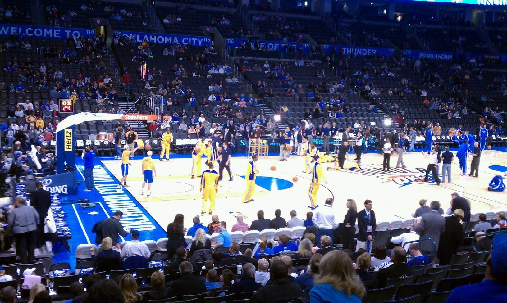 Chesapeake Energy Arena Section 107 Row j Seat 11