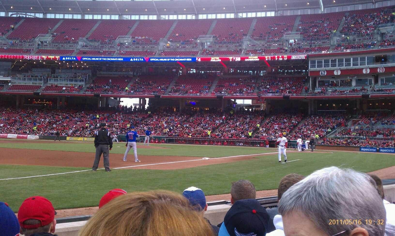 Great American Ball Park Section 112 Row D Seat 7