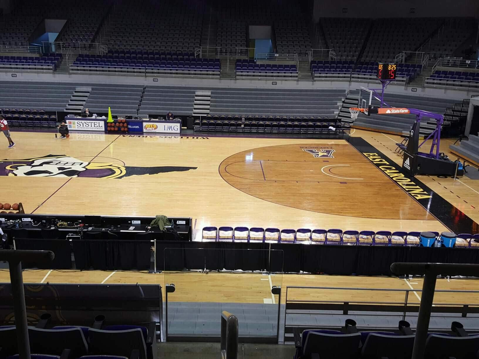 Williams Arena at Minges Coliseum Section 214 Row F Seat 17