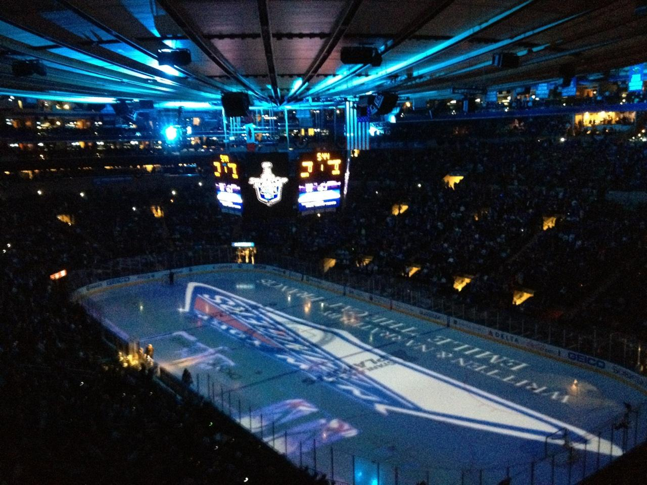Madison Square Garden Section 417 Row A Seat 10 New York Rangers Vs New Jersey Devils Shared