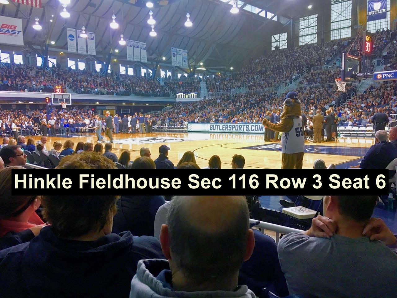 Hinkle Fieldhouse Section 116 Row 3 Seat 6