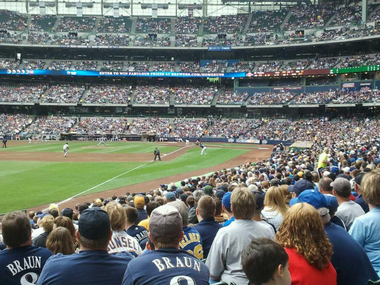 Miller Park Section 130 Row 20 Seat 1
