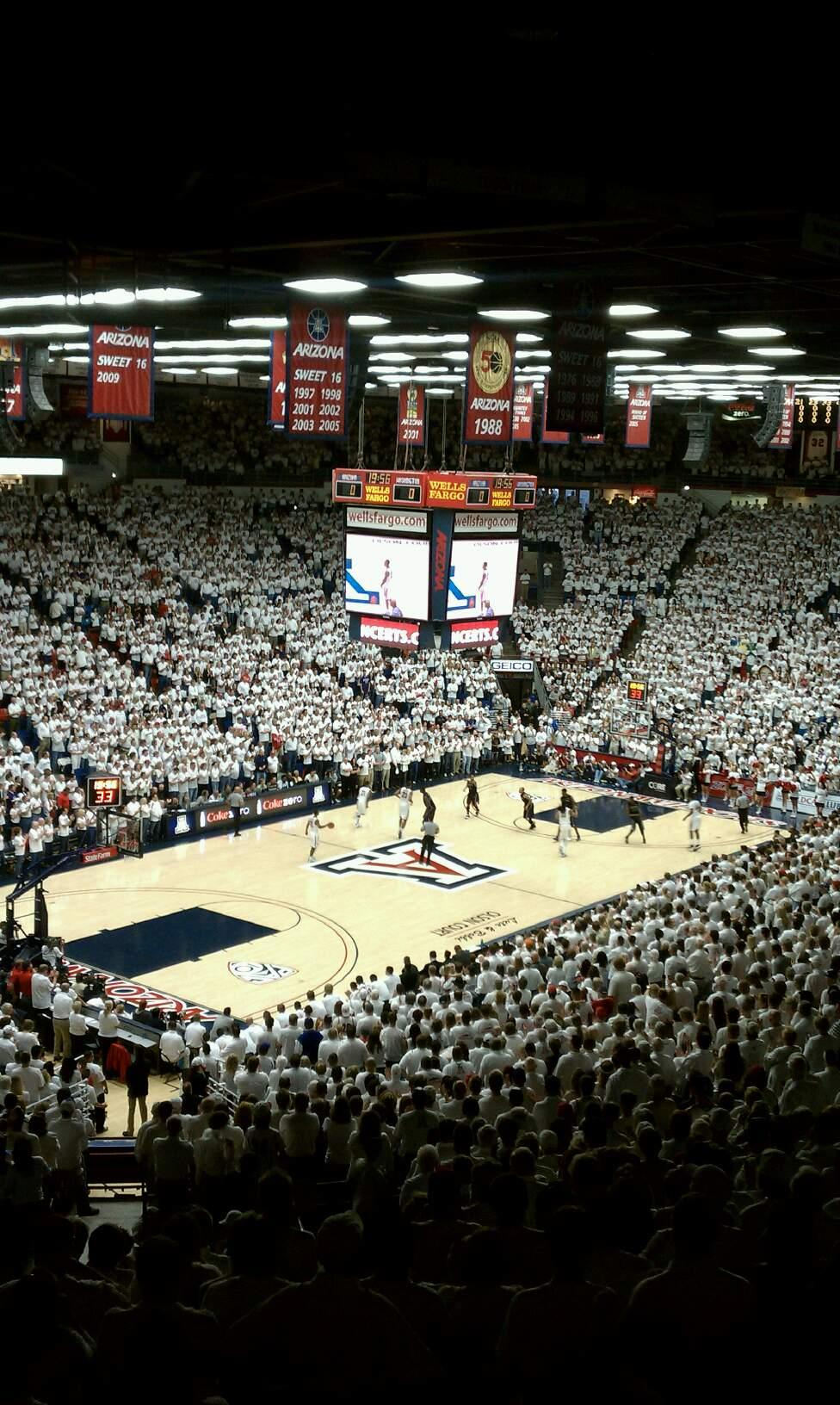 McKale Center Section 104 Row 33 Seat 5