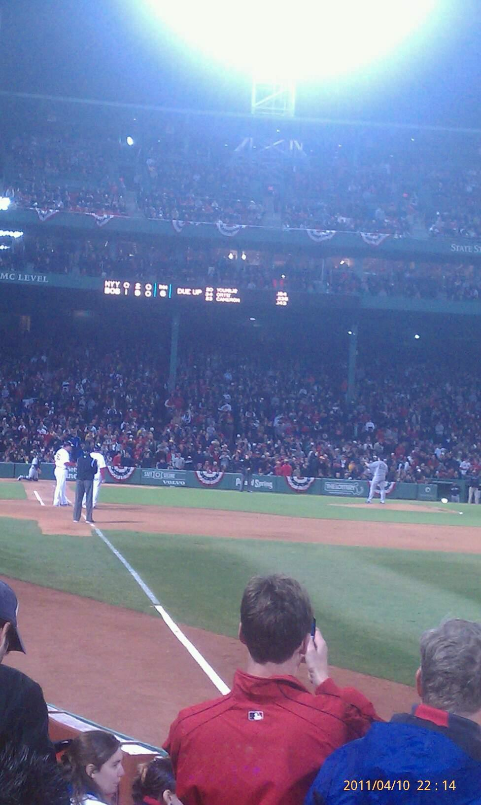 Fenway Park Section Right Field Box 7 Row b Seat 8