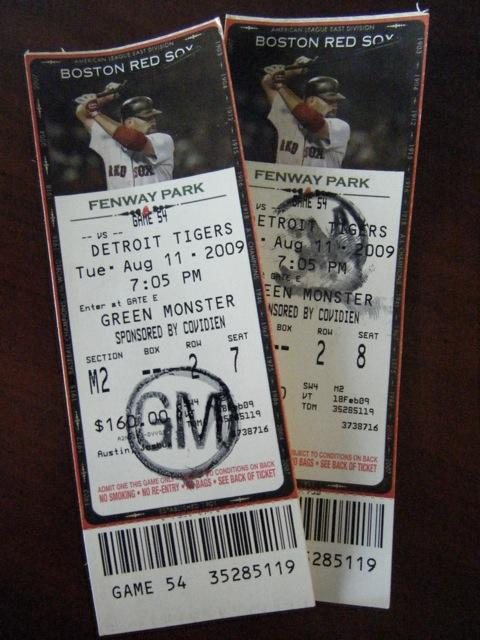 Fenway Park Section GM2 Row 2 Seat 7-8