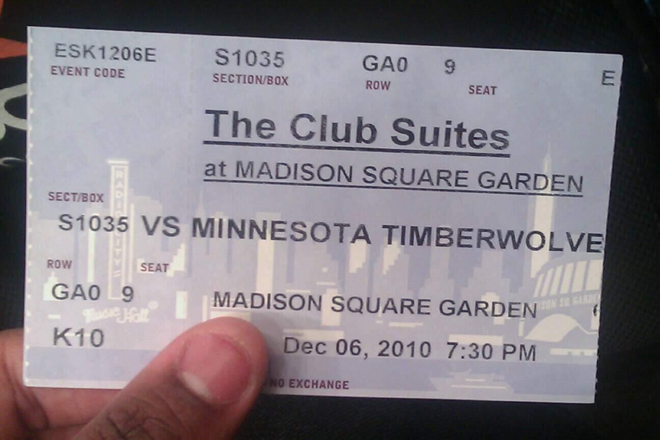 Madison Square Garden Section S1035 Row GA0 Seat 9