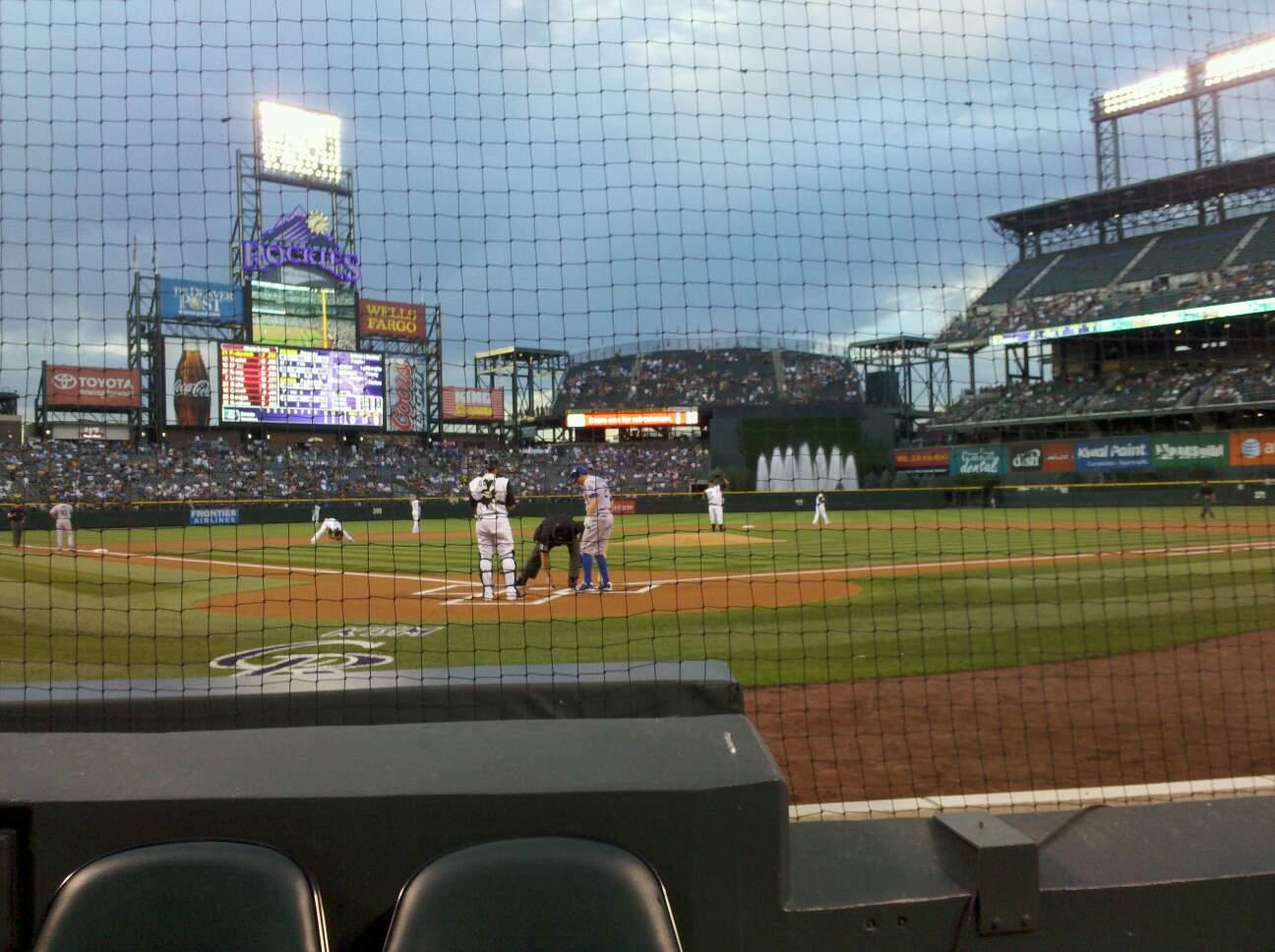 Coors Field Section 130 Row 1 Seat 5