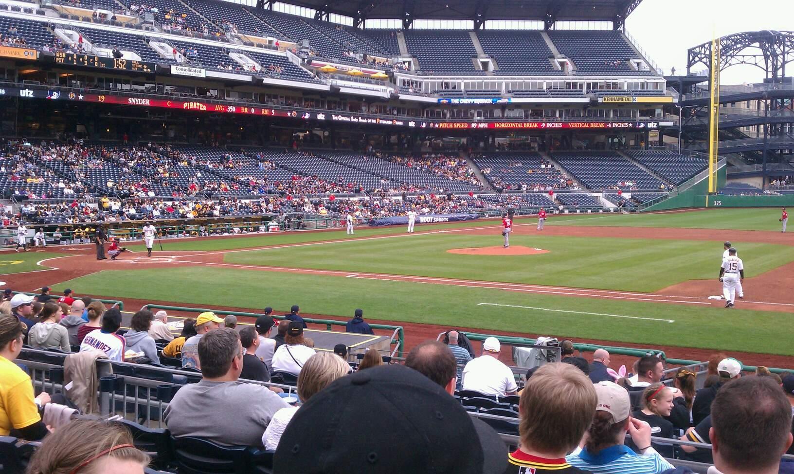 PNC Park Section 109 Row e Seat 3