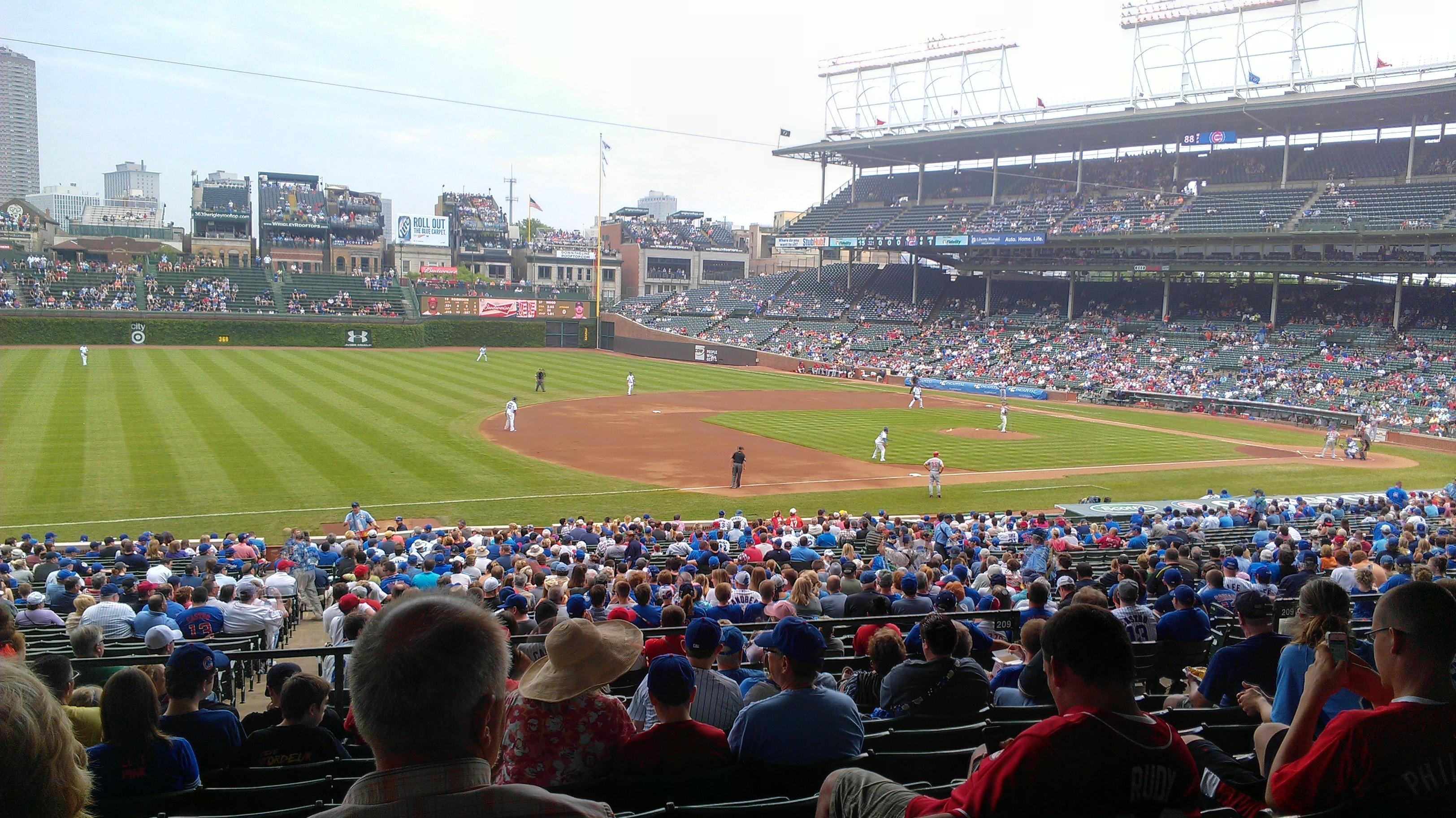 Wrigley Field section 208 row 9 seat 12 Chicago Cubs vs Cincinnati