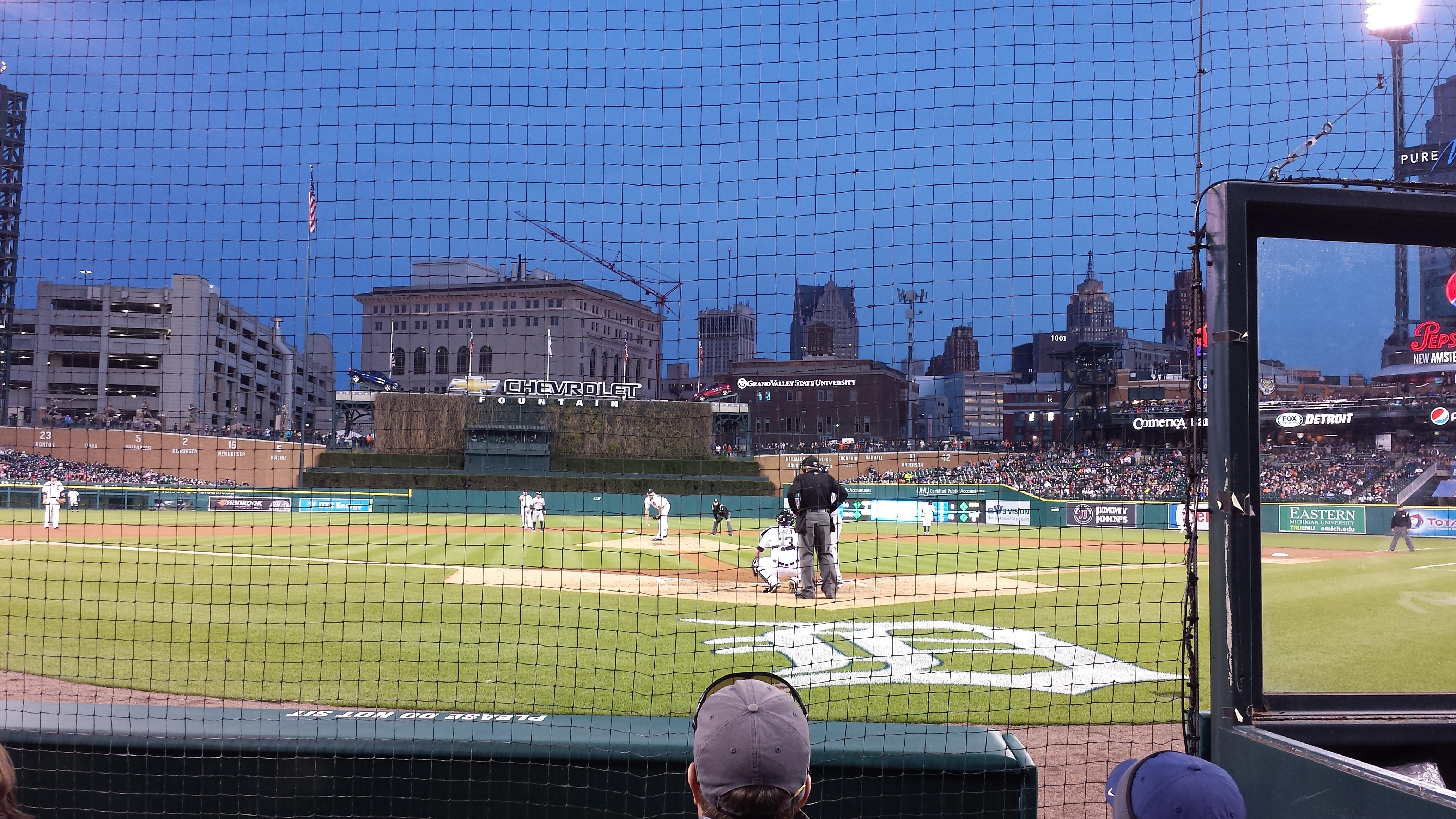 View from Section 128 Row 4 at Comerica Park