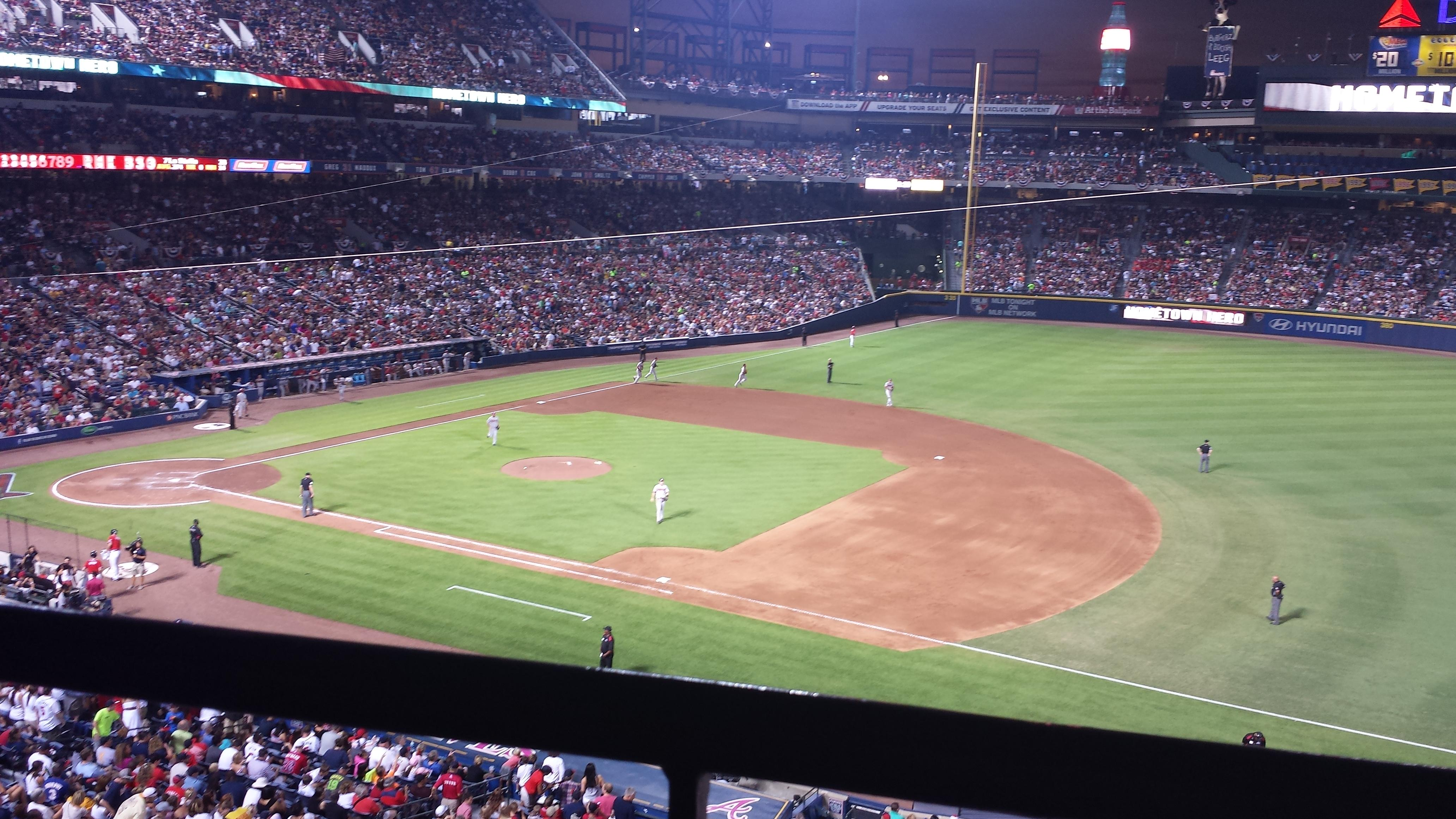 Seat View for Turner Field Section 315, Row 1, Seat 12