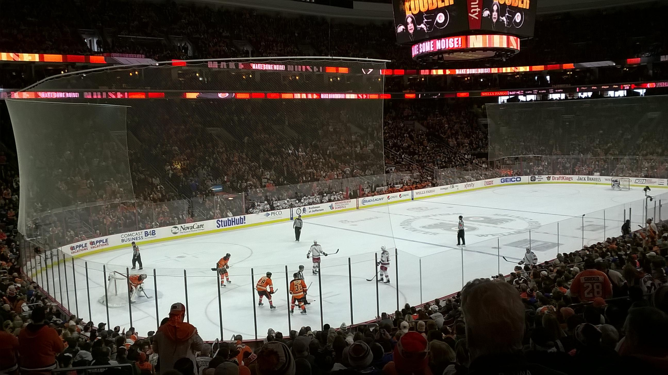 Philadelphia Flyers Seat View for Wells Fargo Center Section 110, Row 22, Seat 3