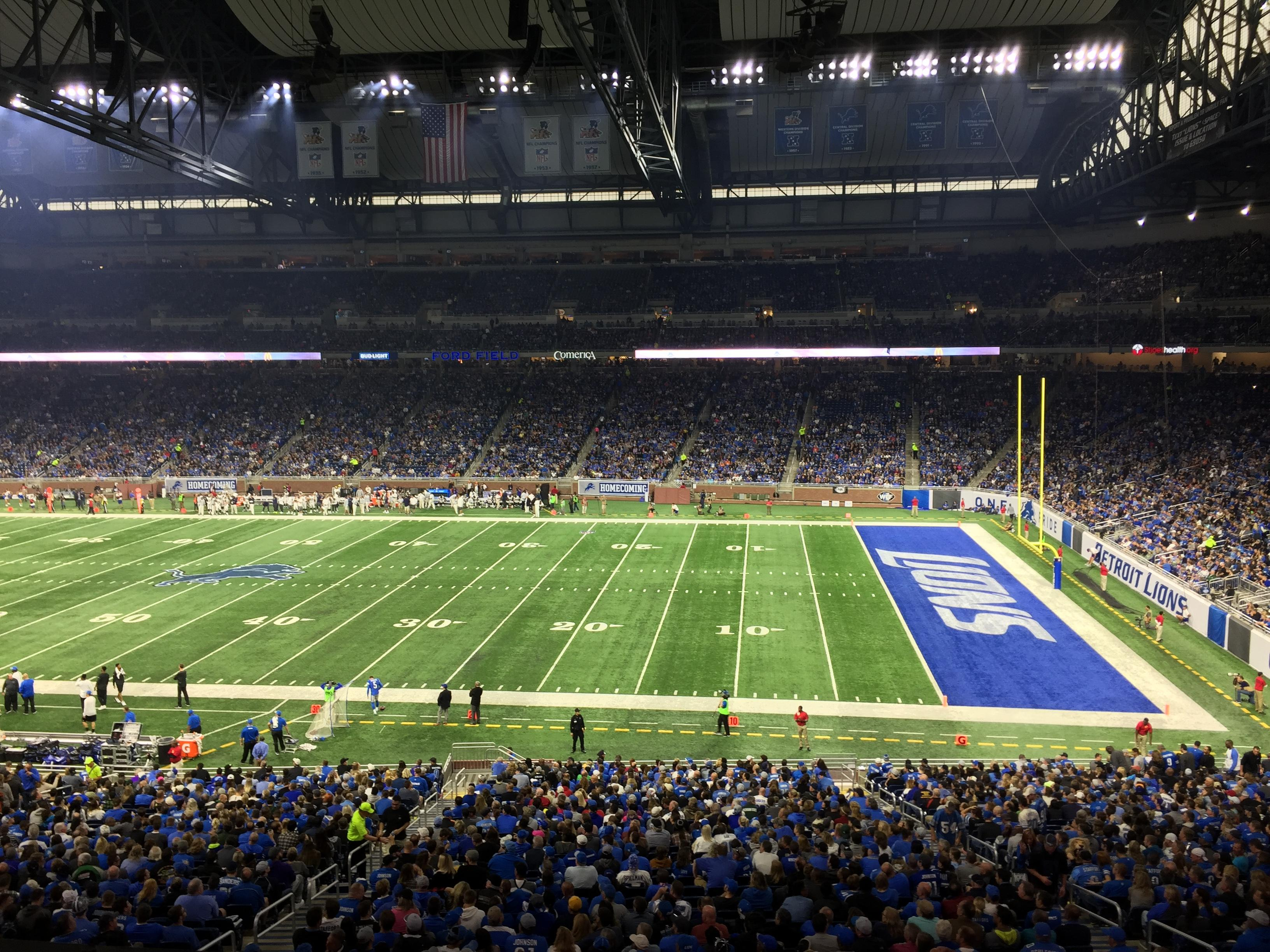 Ford Field Section 210 Row 1 Seat 20