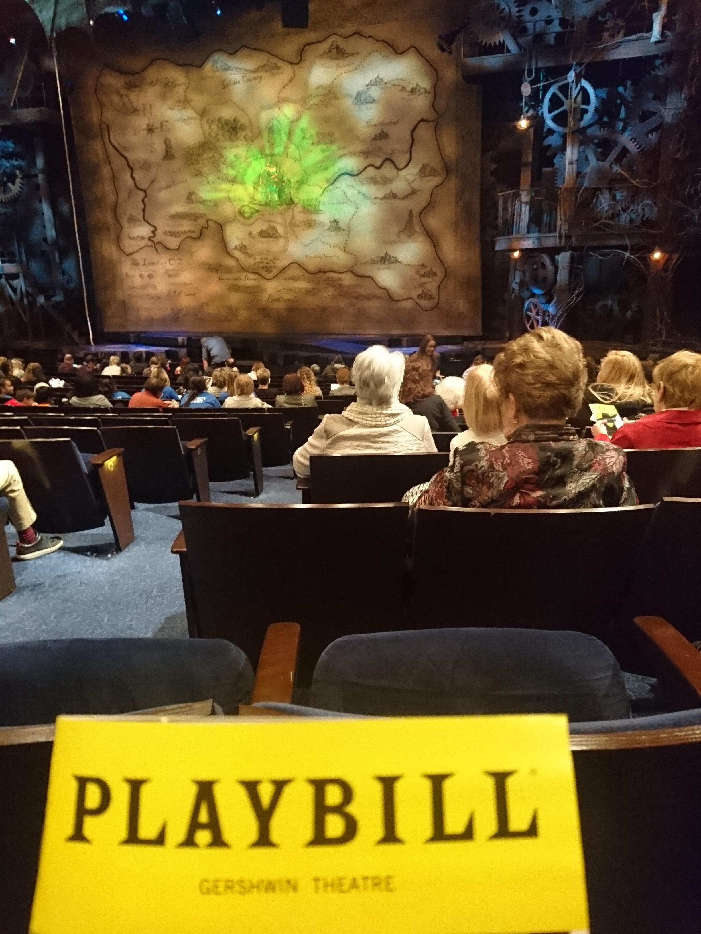 Gershwin Theatre Section Orchestra R Row M Seat 4