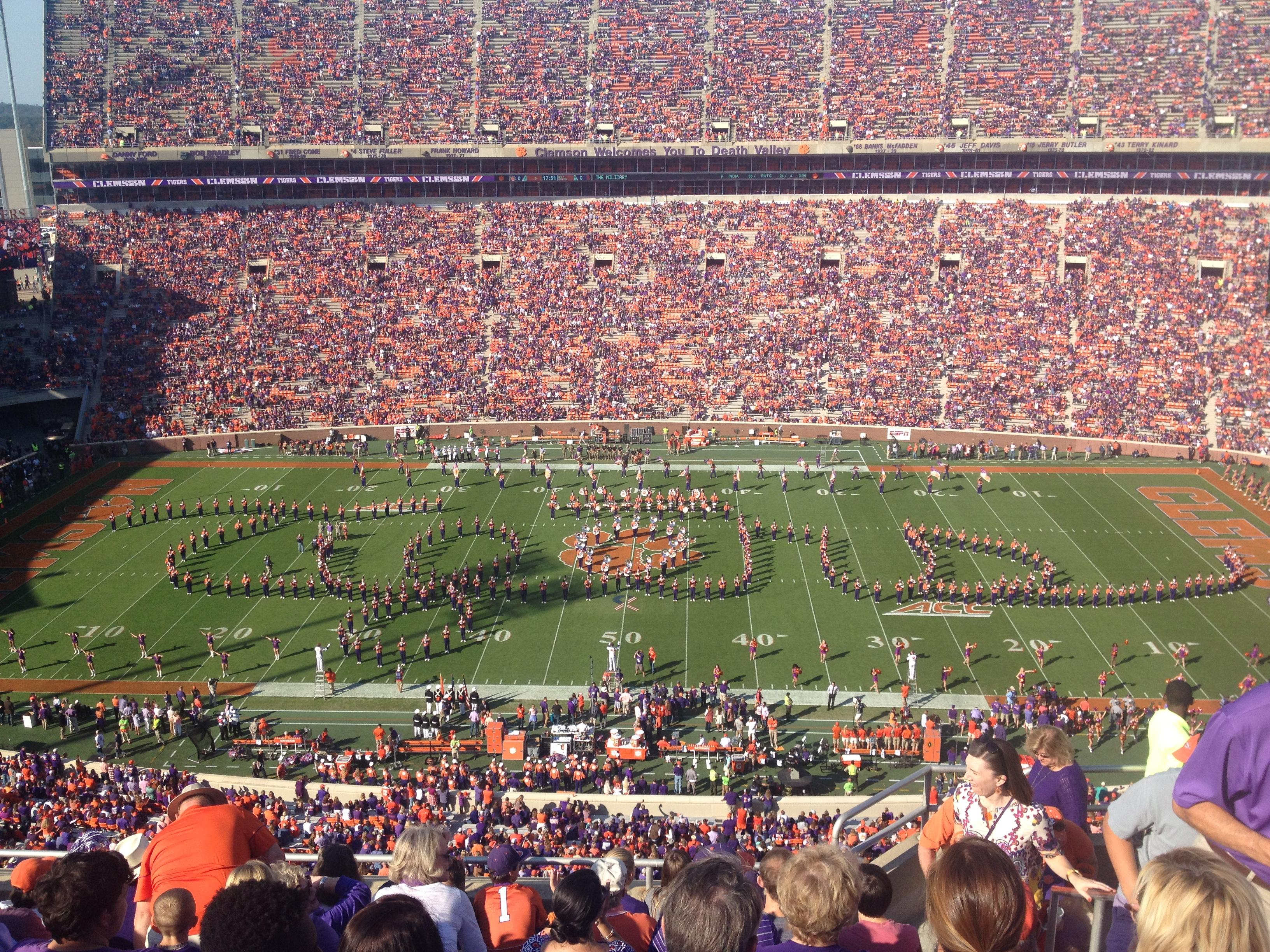 Memorial Stadium, Clemson Section TDE Row G Seat 5-7