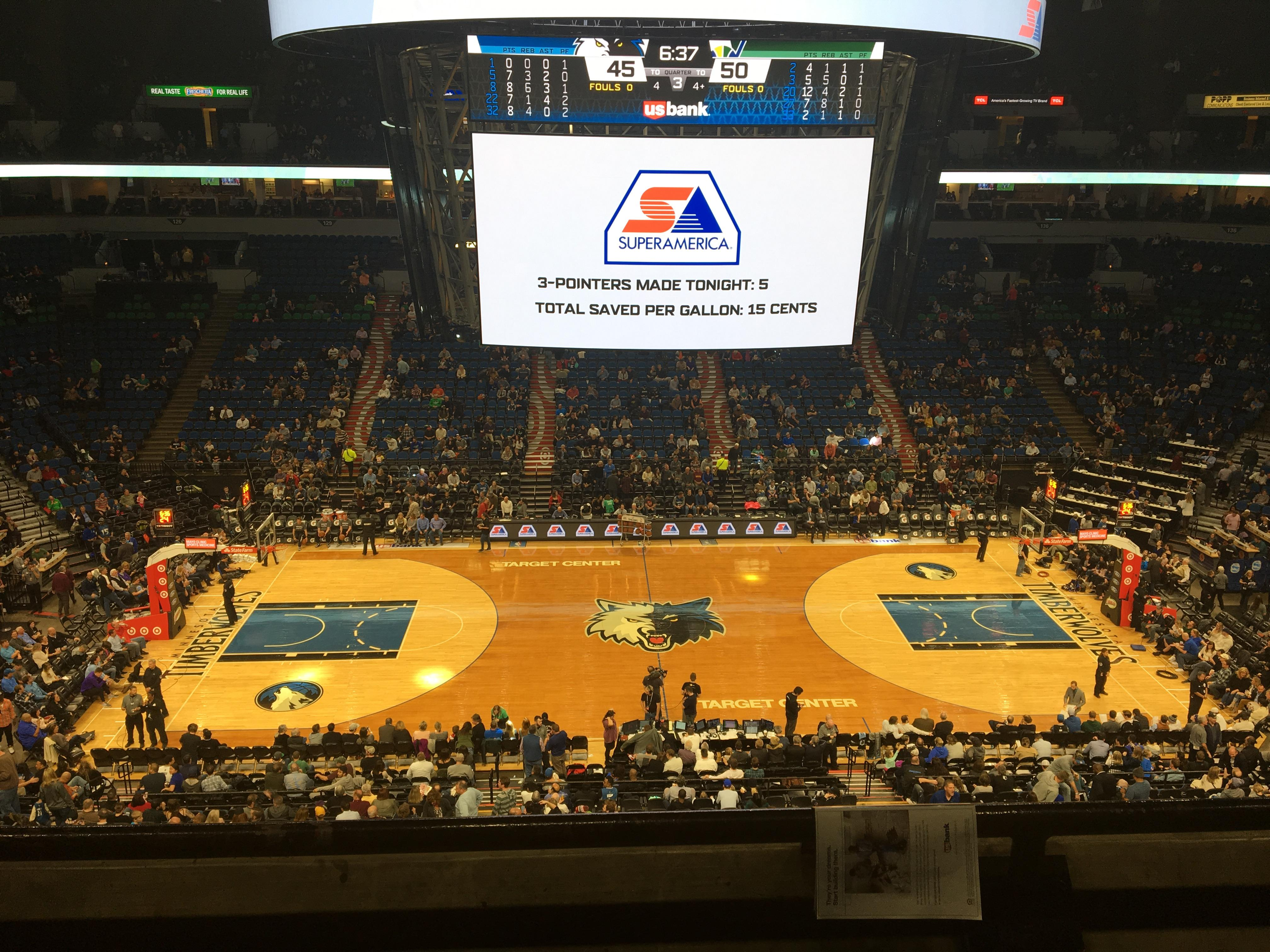 Target Center Section 211 Row B Seat 12