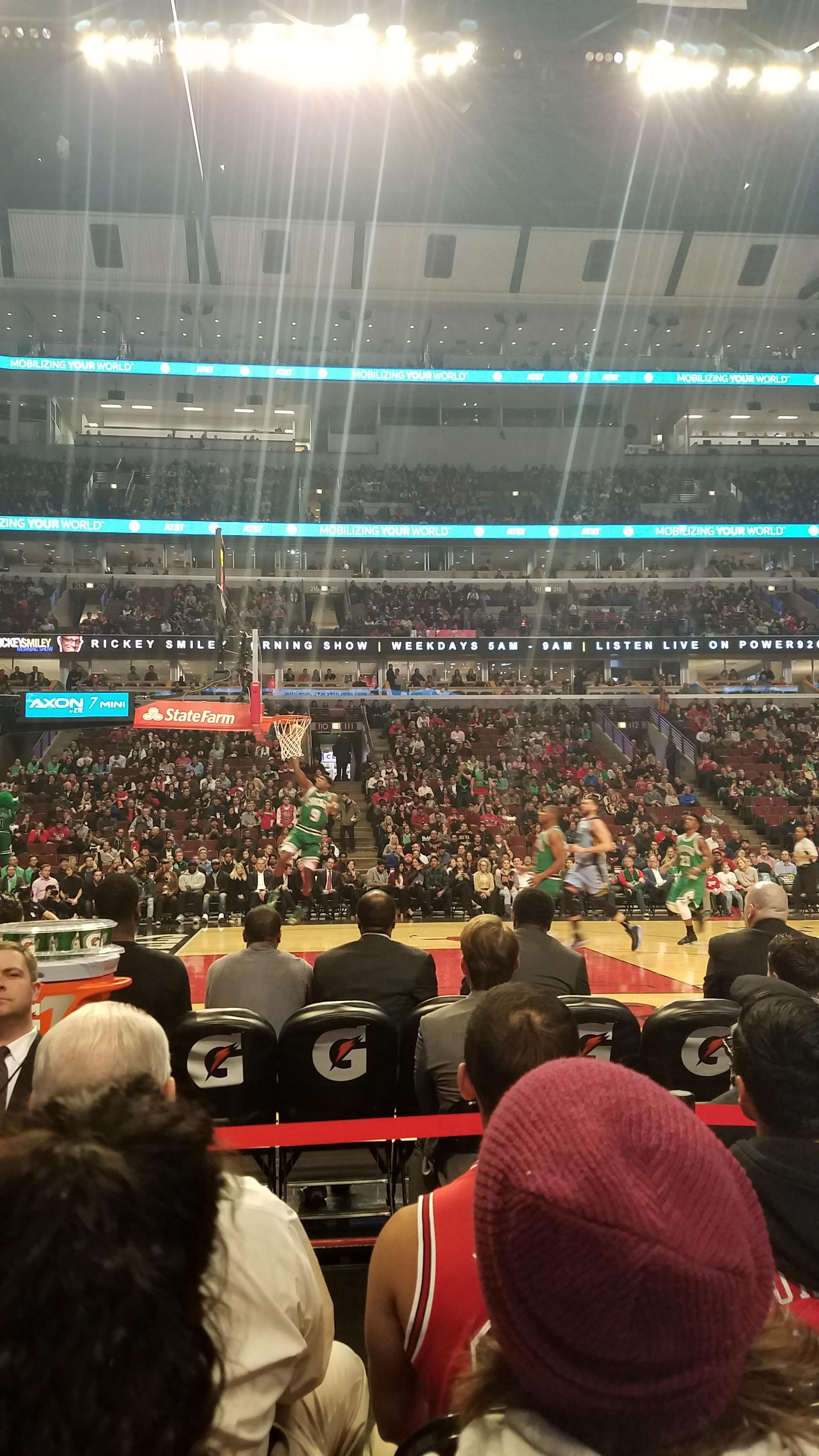 United Center Section 102 Row 1 Seat 4