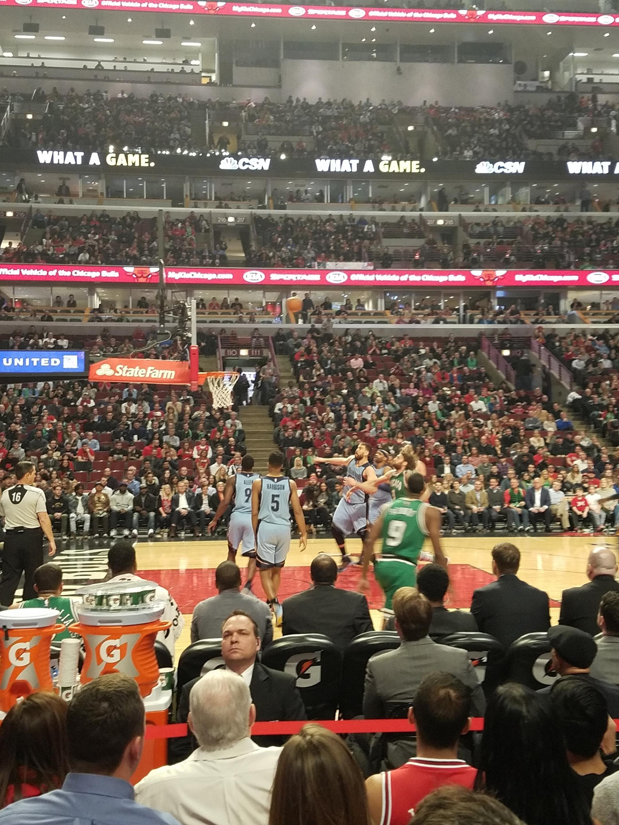 United Center Section 102 Row 3 Seat 4