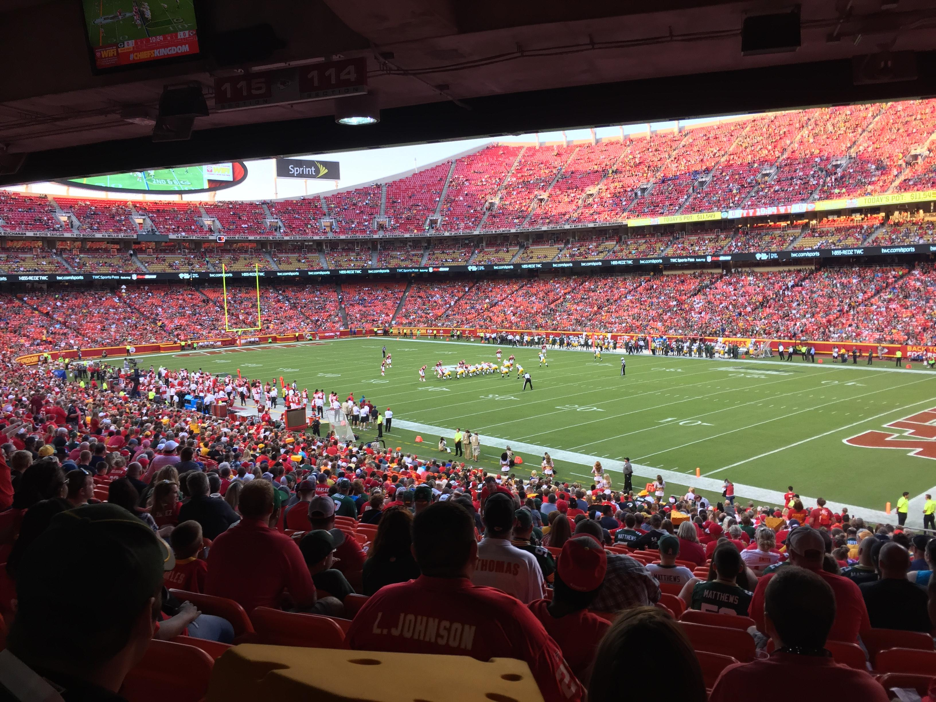Arrowhead Stadium Section 114 Row 38 Seat 23