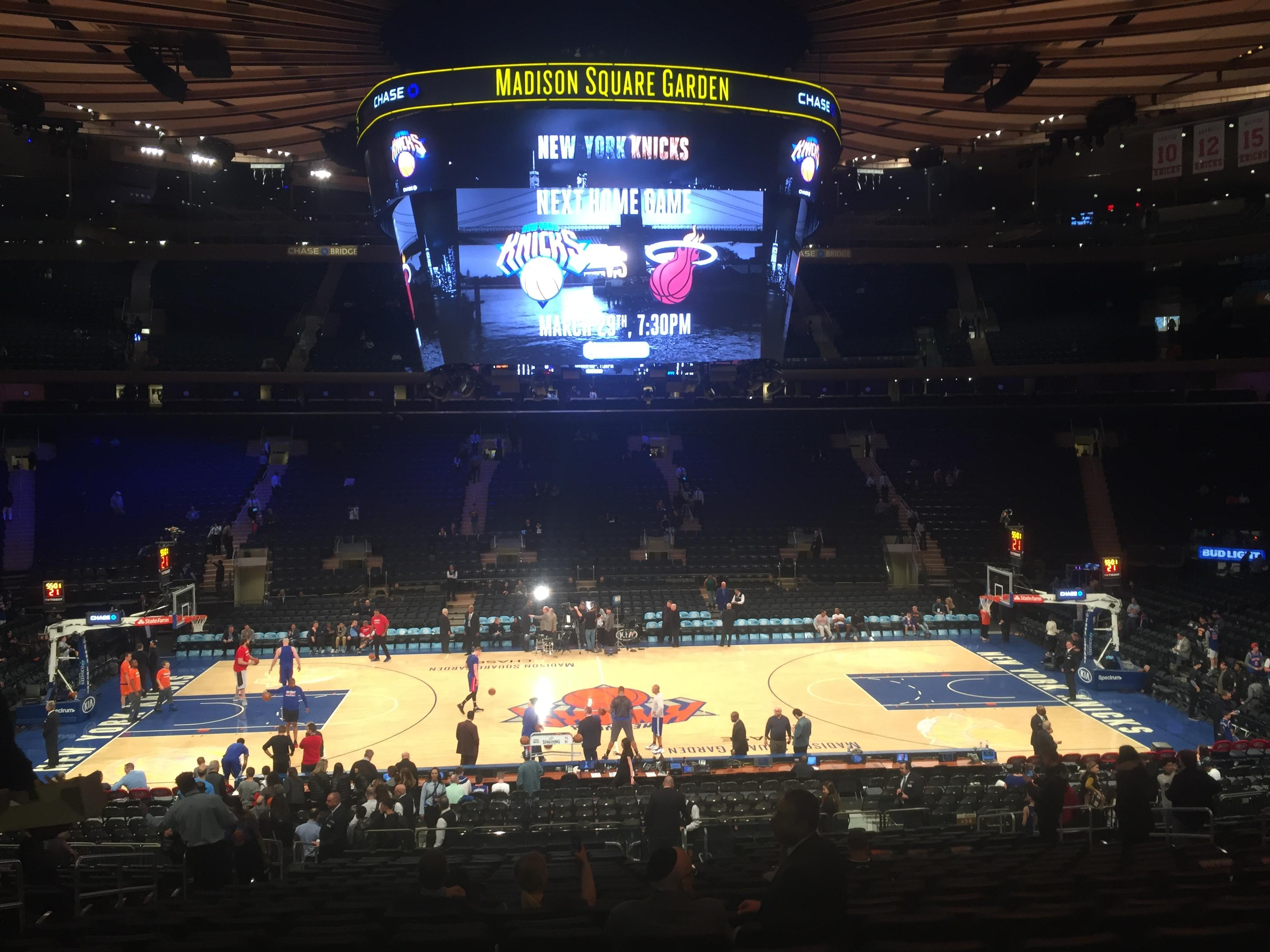 Madison Square Garden Section 107 Row 22 Seat 9