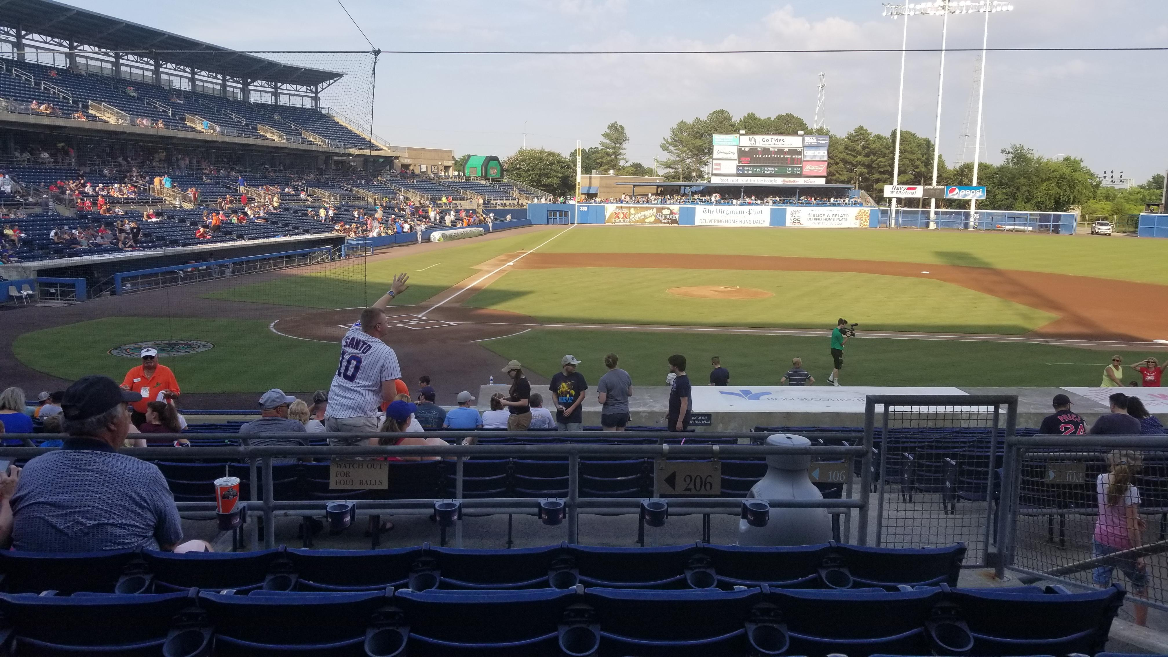 Harbor Park Section 206 Row S Seat 12
