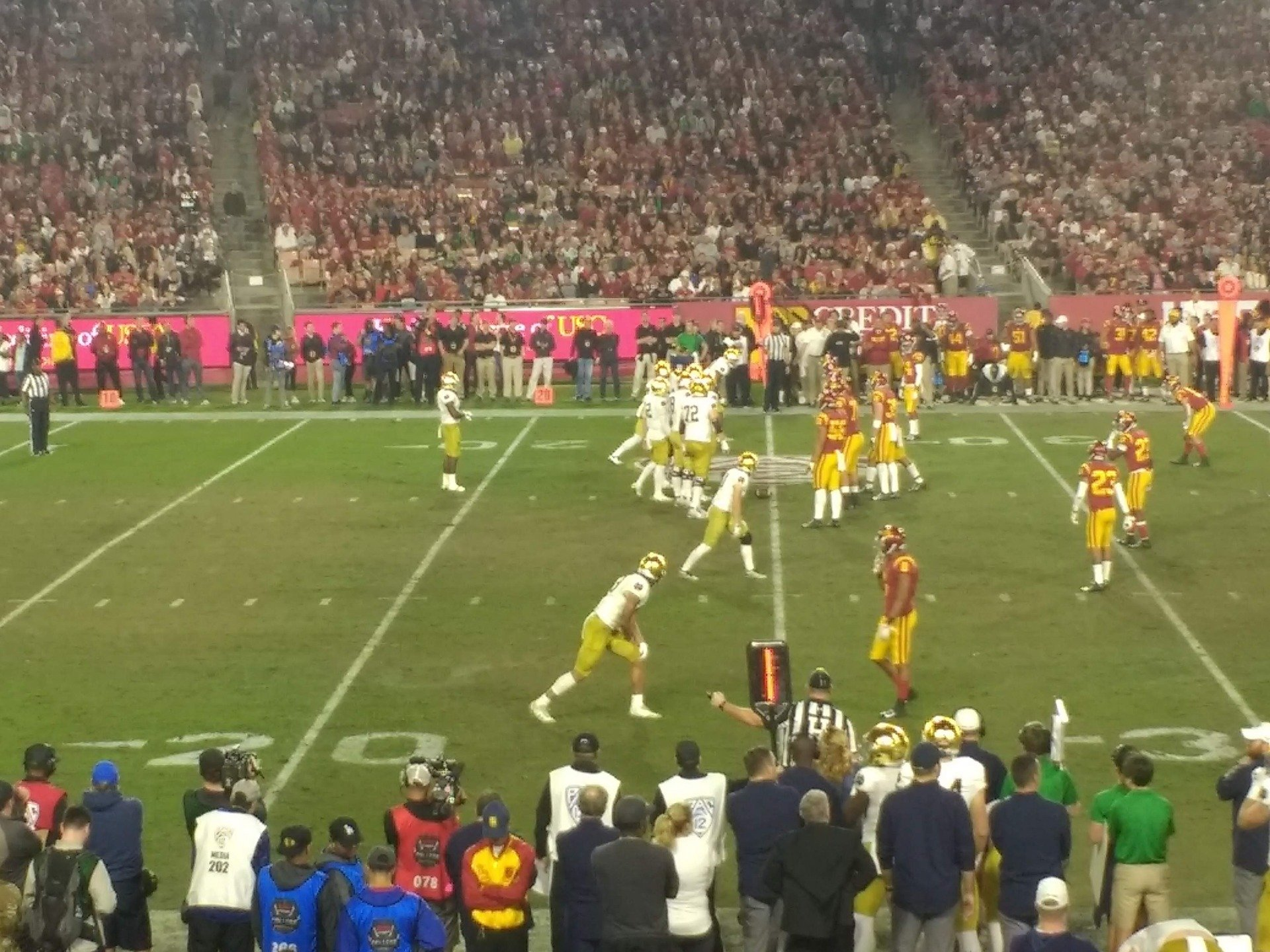 Los Angeles Memorial Coliseum Section 108A Row 20 Seat 8