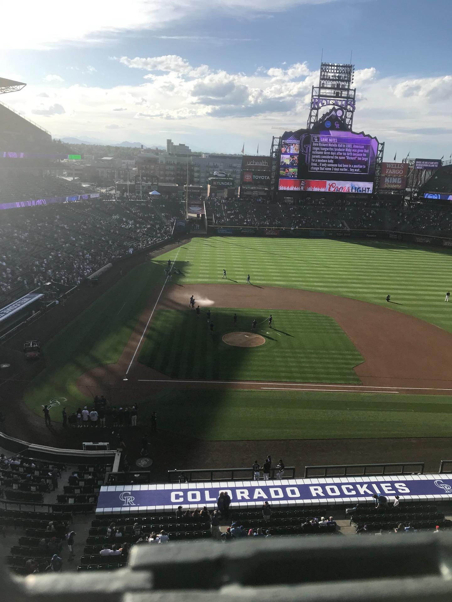 Coors Field Section L325 Row 1 Seat 18