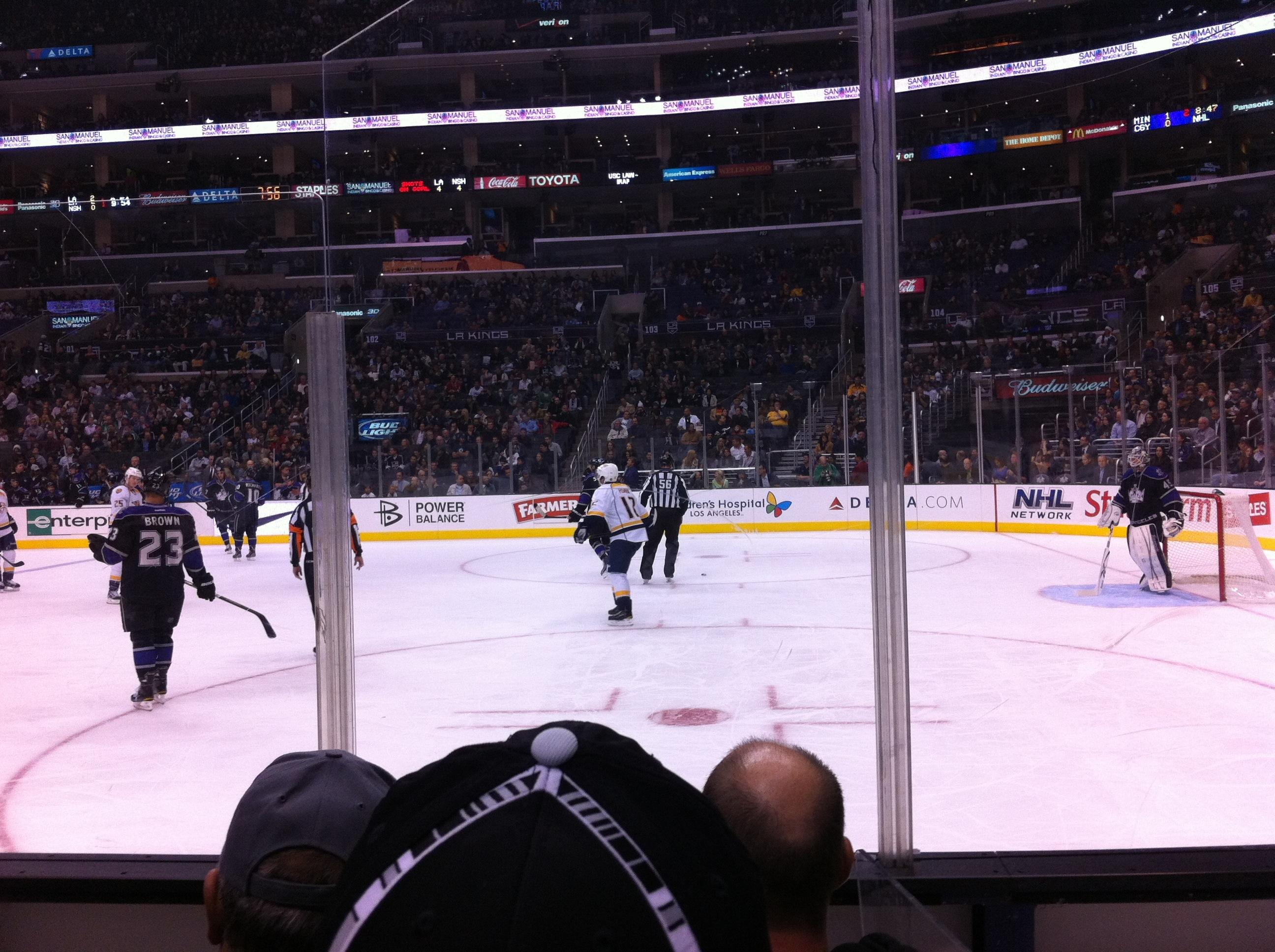 Staples Center Section 109 Row 4 Seat 2