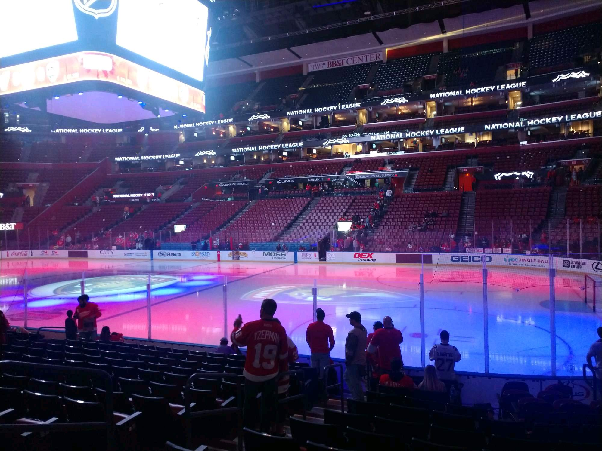 BB&T Center Section 115 Row 12 Seat 8
