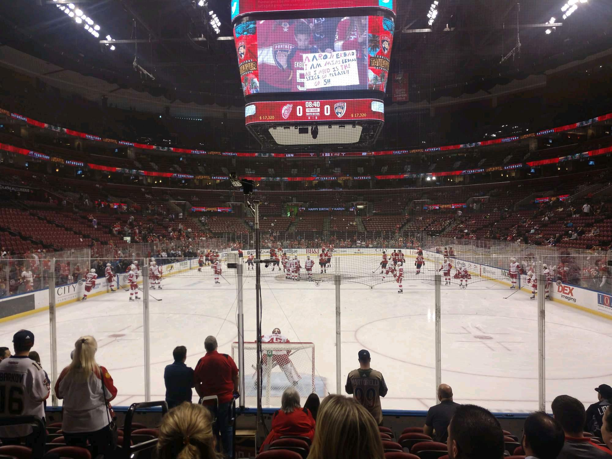 BB&T Center Section 125 Row 9 Seat 18