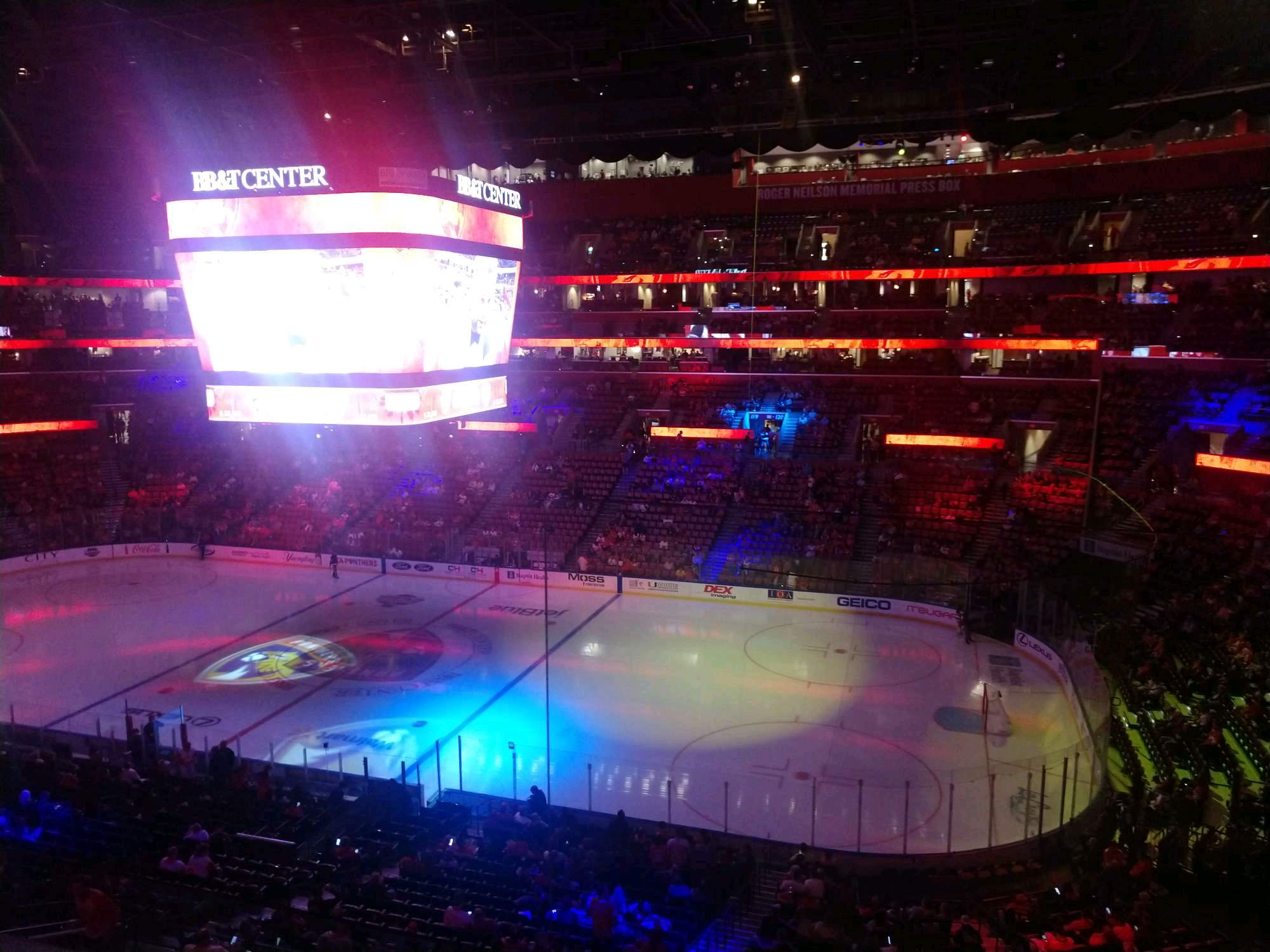 BB&T Center Section CL34 Row 2 Seat 1