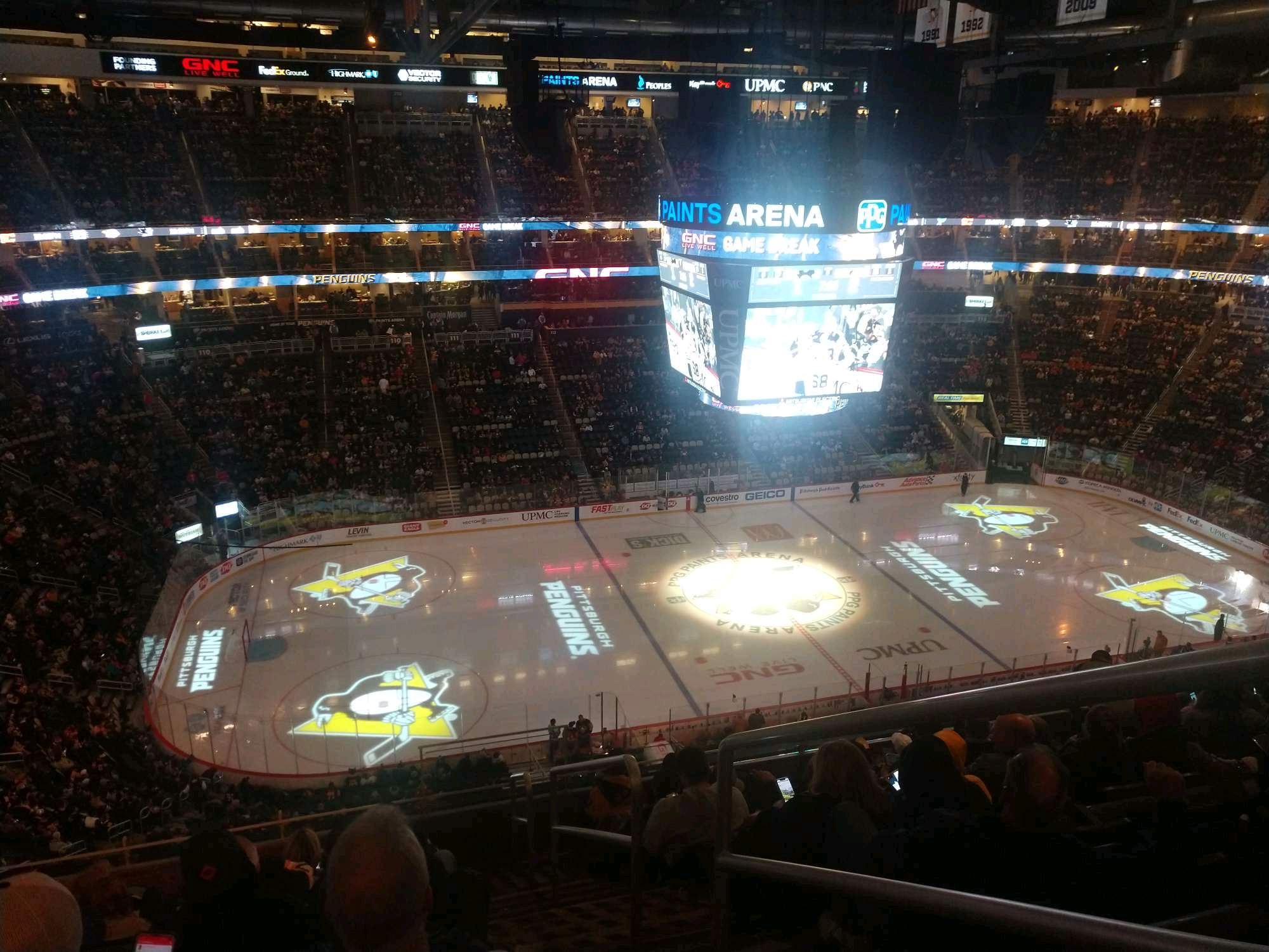 PPG Paints Arena Section 205 Row J Seat 1