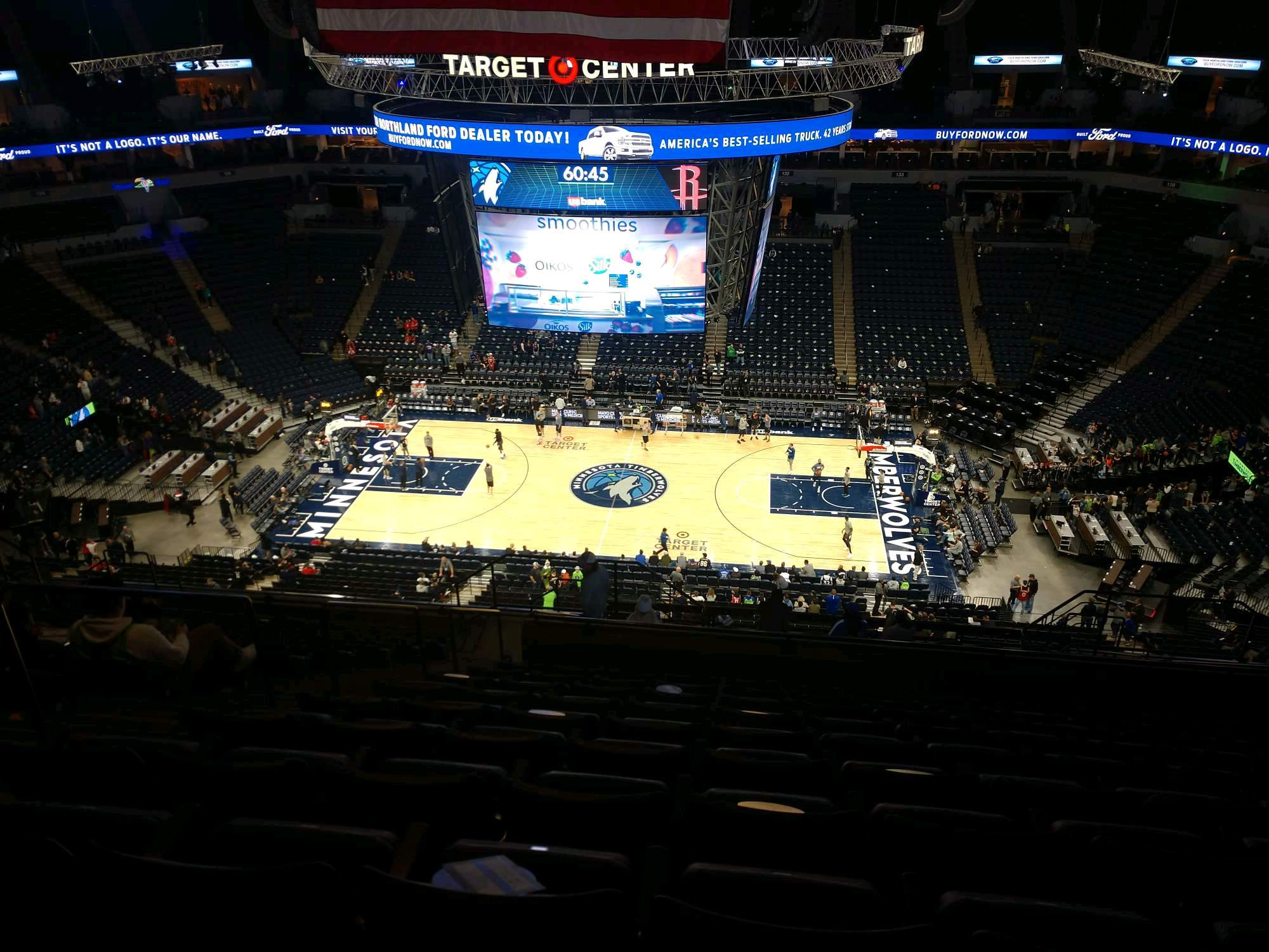 Target Center Section 210 Row T Seat 10