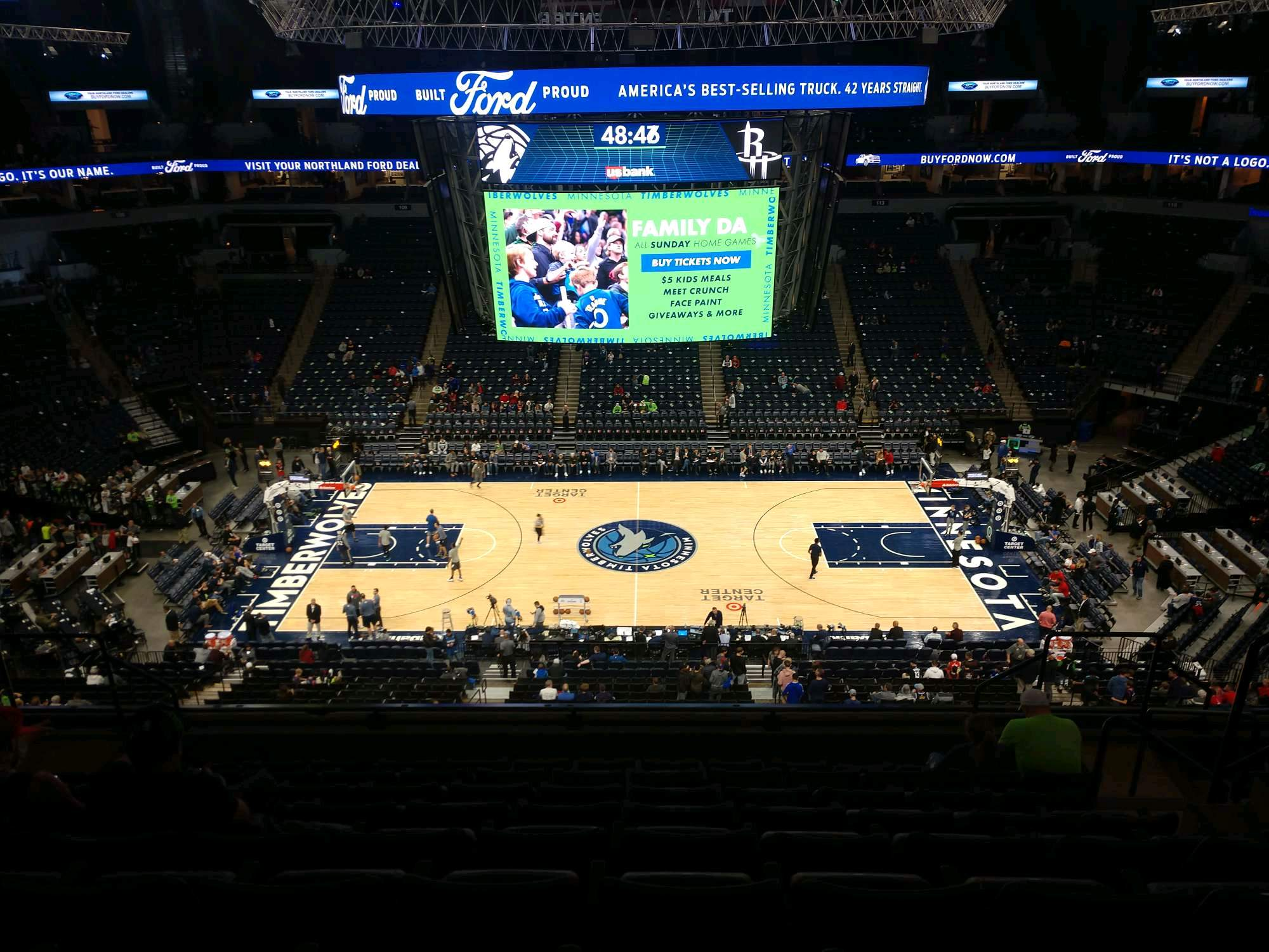 Target Center Section 231 Row J Seat 6