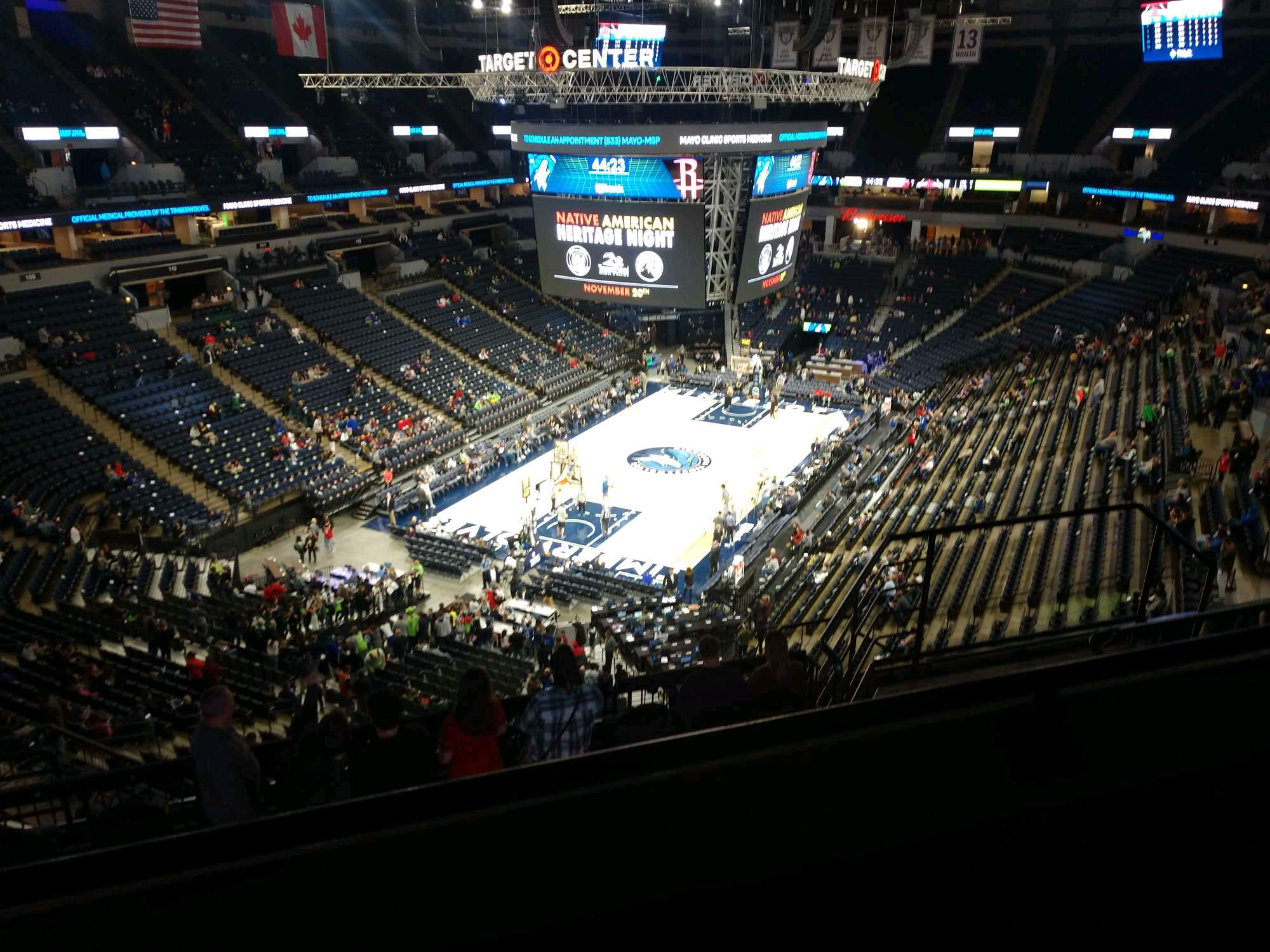 Target Center Section 238 Row K Seat 8