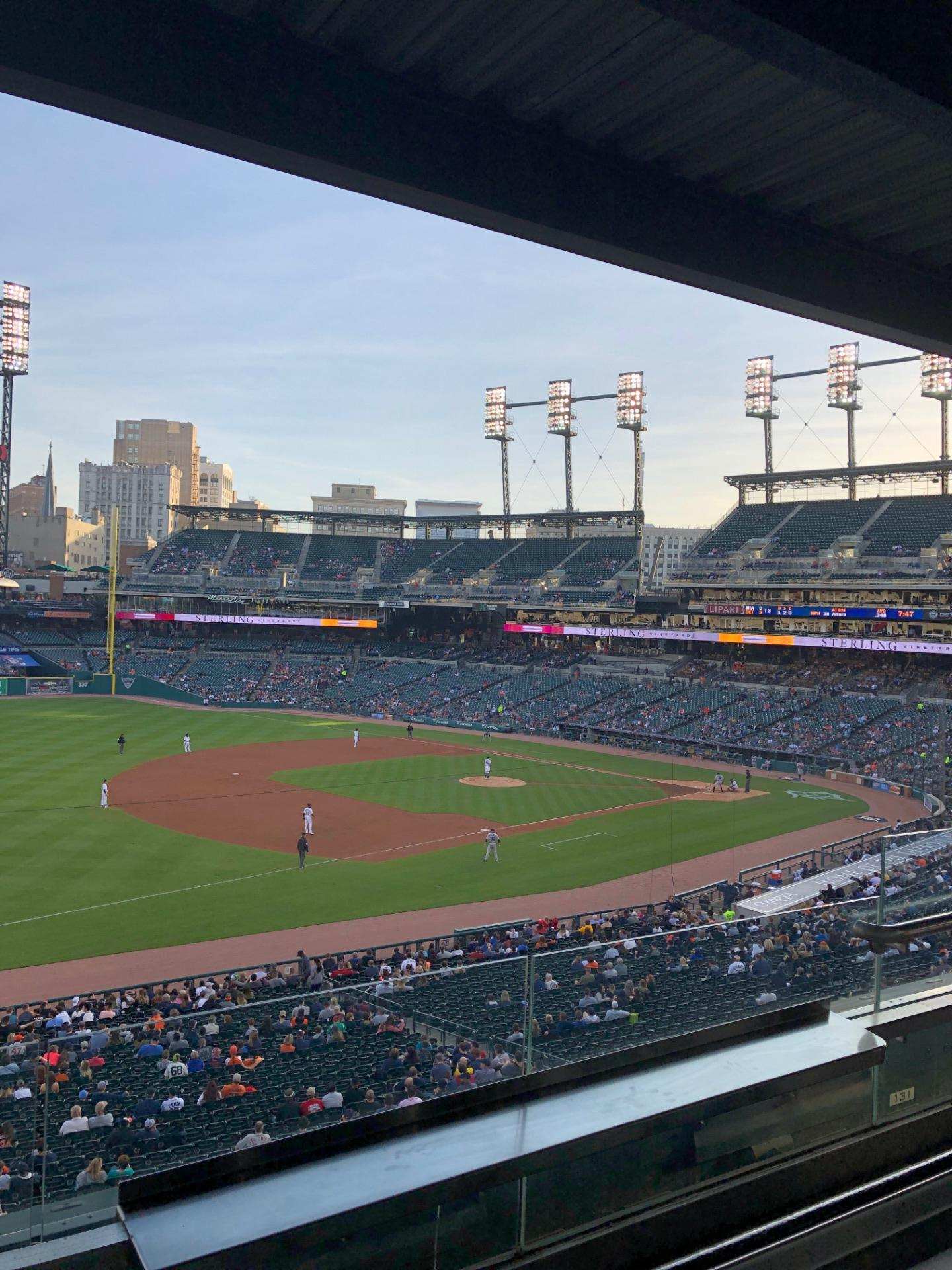 Comerica Park Section Tiger Club Row B Seat 19