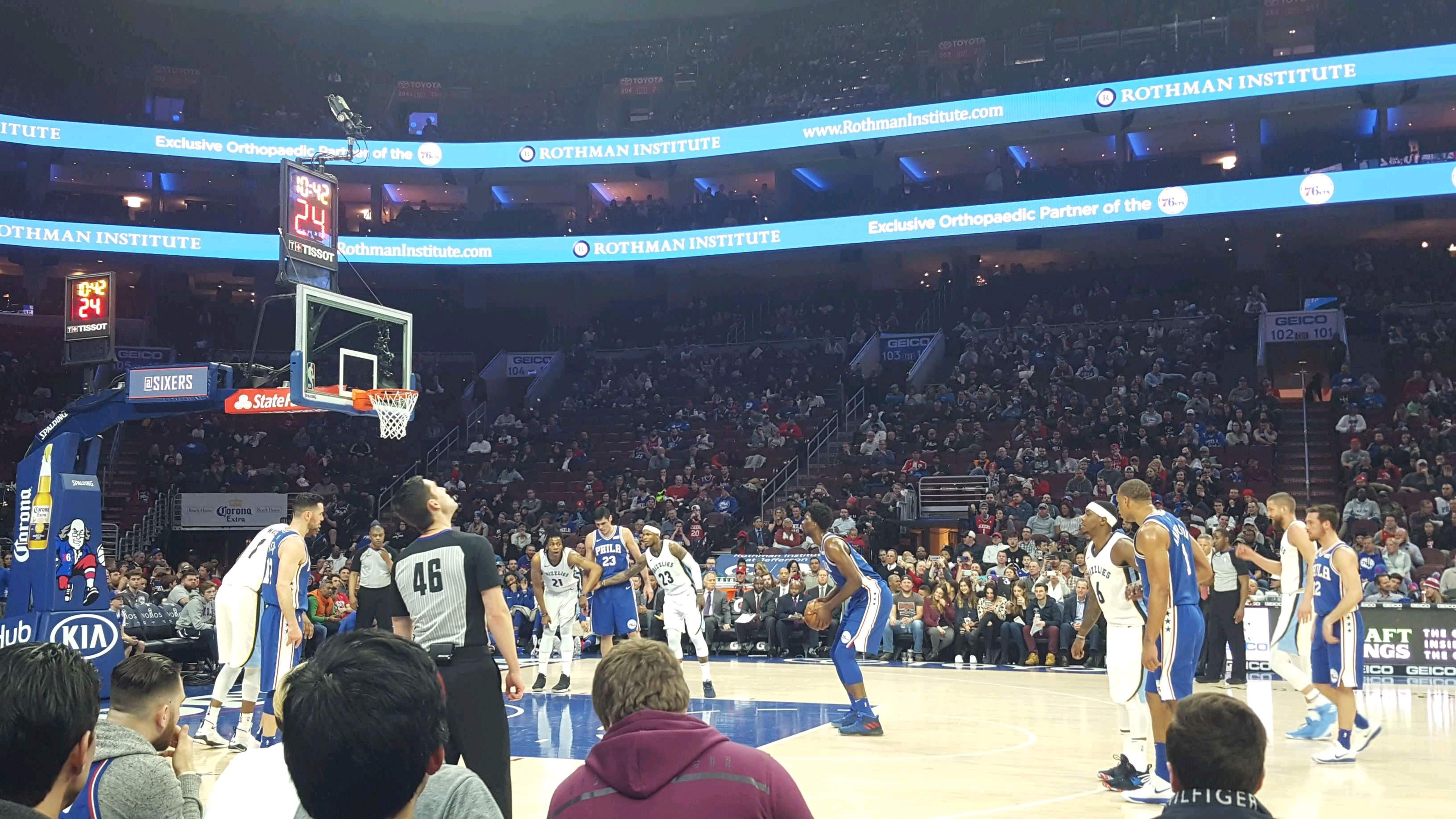 Wells Fargo Center Section 113 Row CC Seat 1