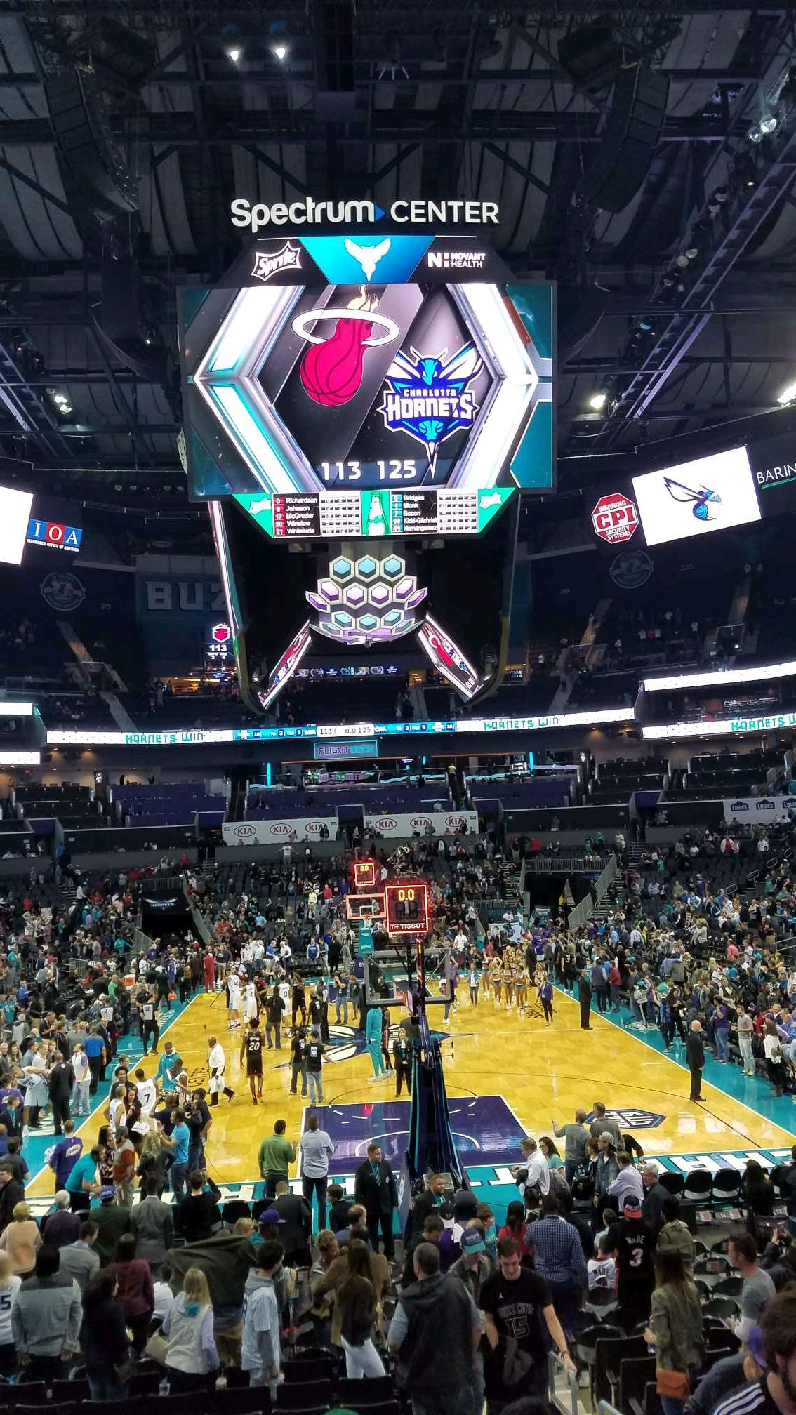 Spectrum Center Section 101 Row P Seat 4