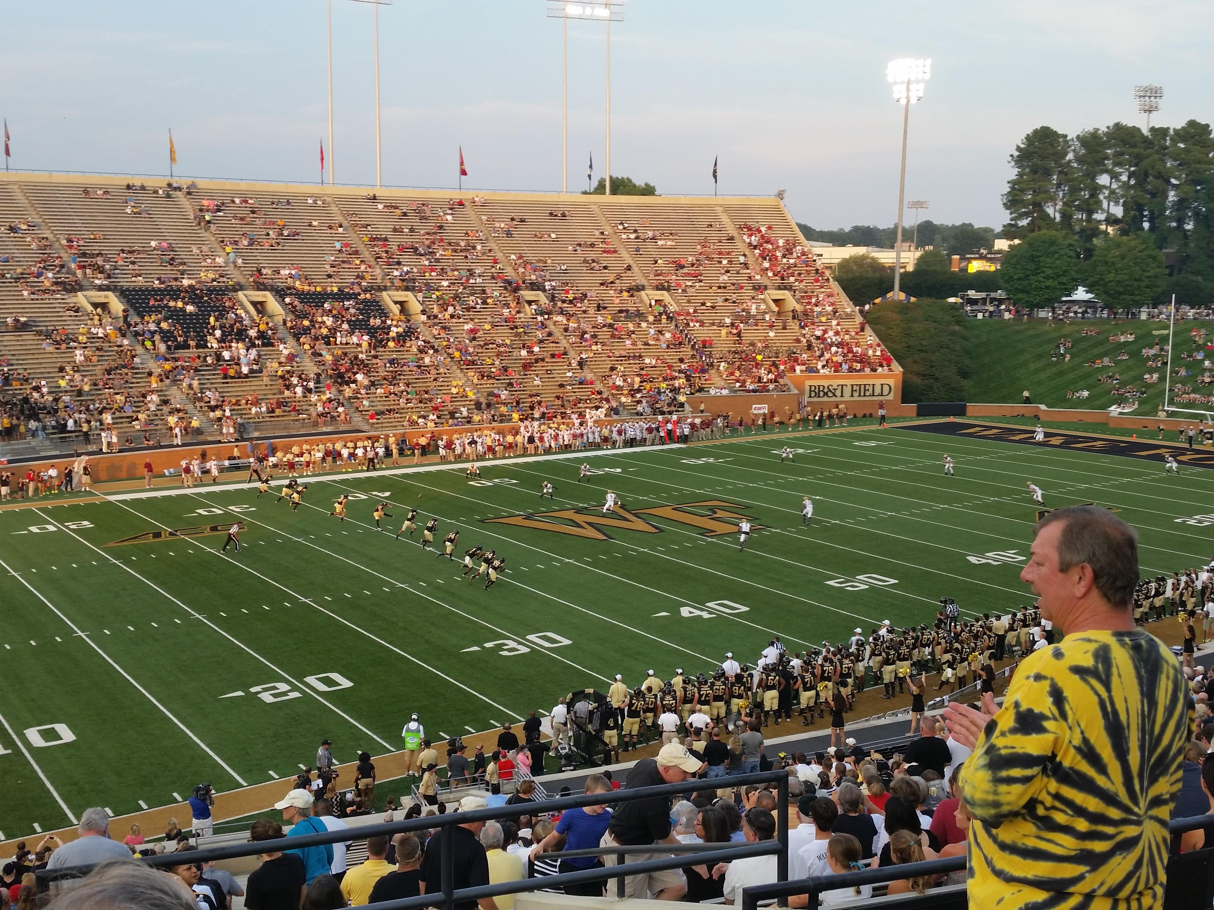 Truist Field at Wake Forest Section 2 Row JJ Seat 1