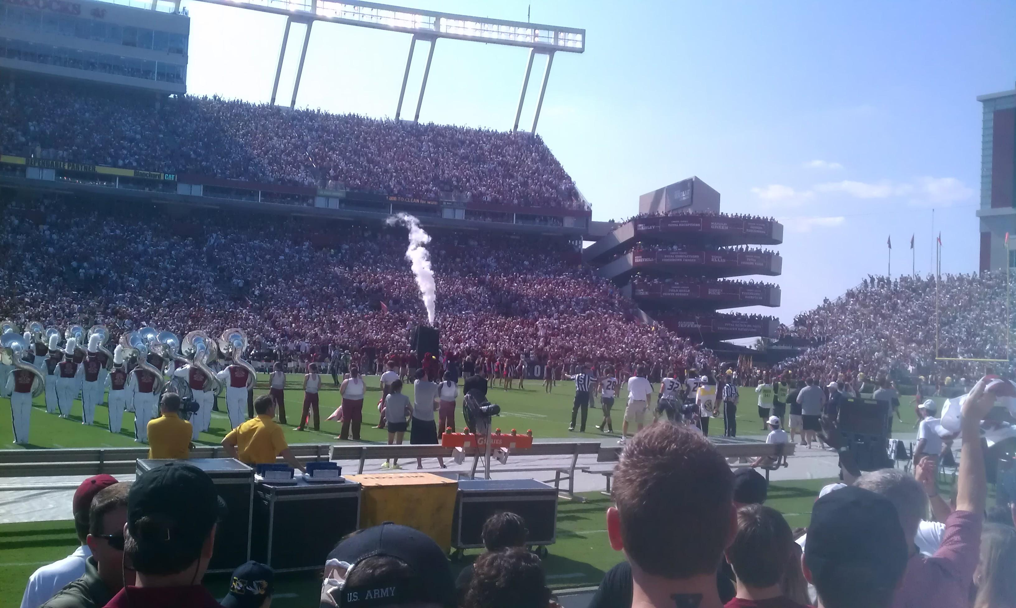 View from Row A6 in Section 20 at Williams Brice Stadium
