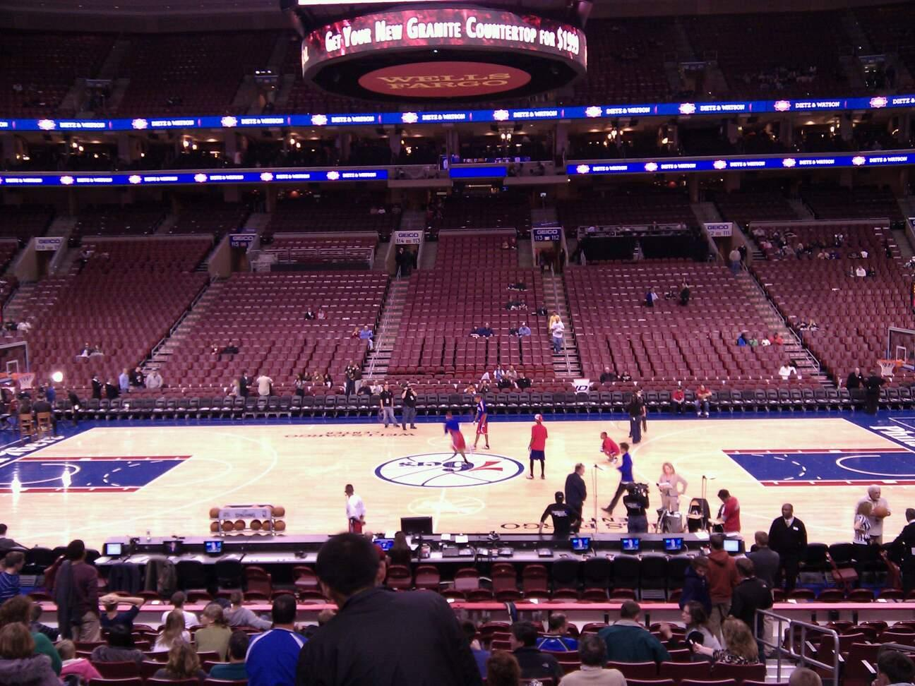 Wells Fargo Center Section 101 Row 16 Seat 12