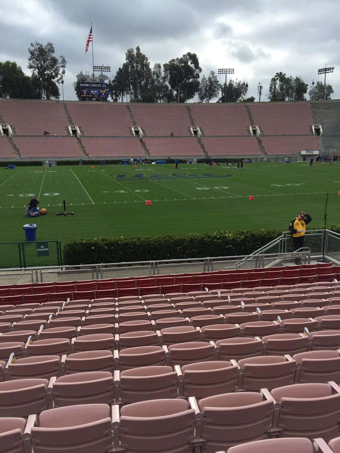 Like many college stadiums, the Rose Bowl has both bleacher seating and full seats. The sections that provide seat backs are along the sidelines in sections and These seats are obviously more comfortable and have more leg room than the bleacher seat sections.