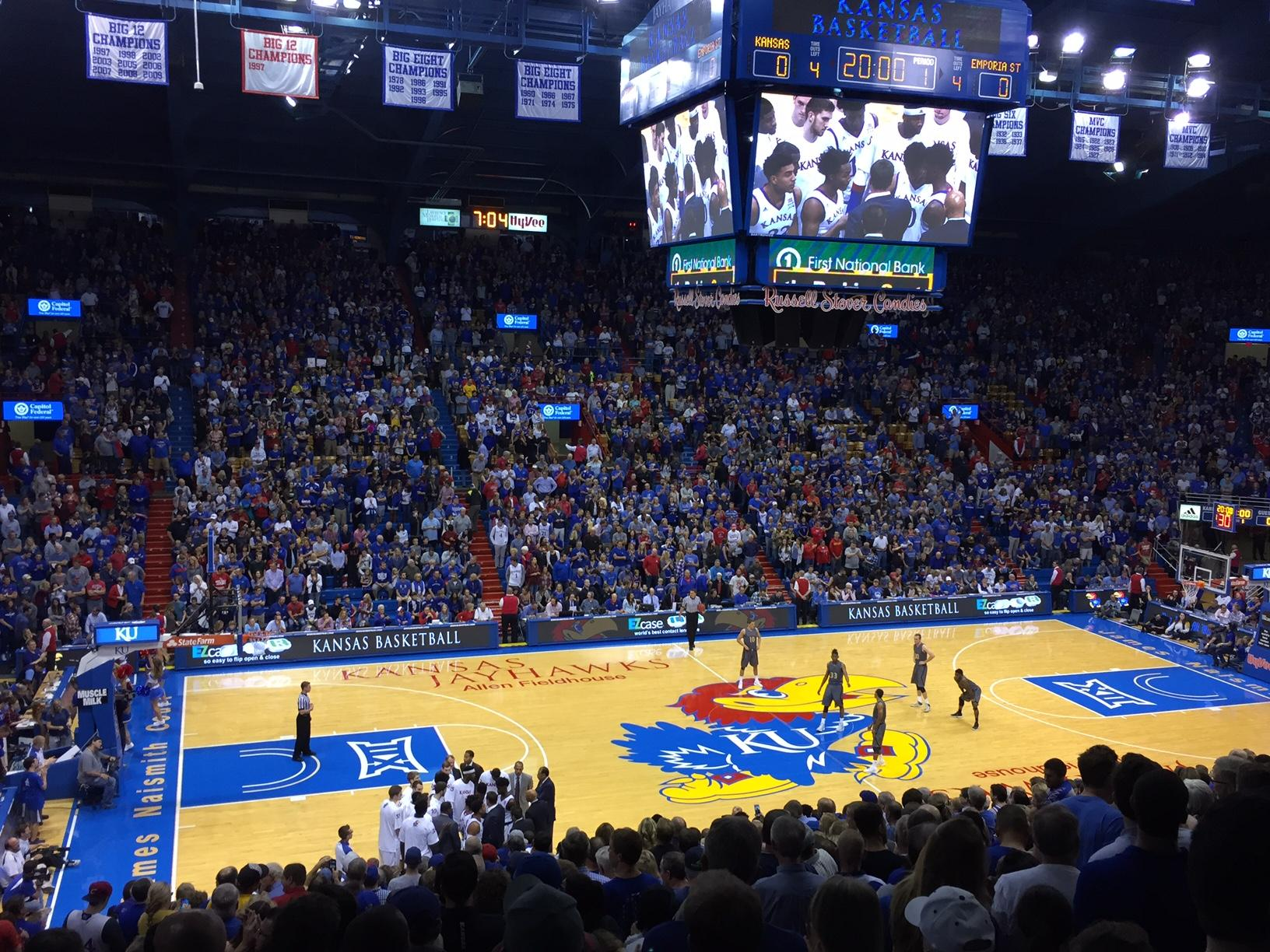 Allen Fieldhouse Section 18 Row 15 Seat 20