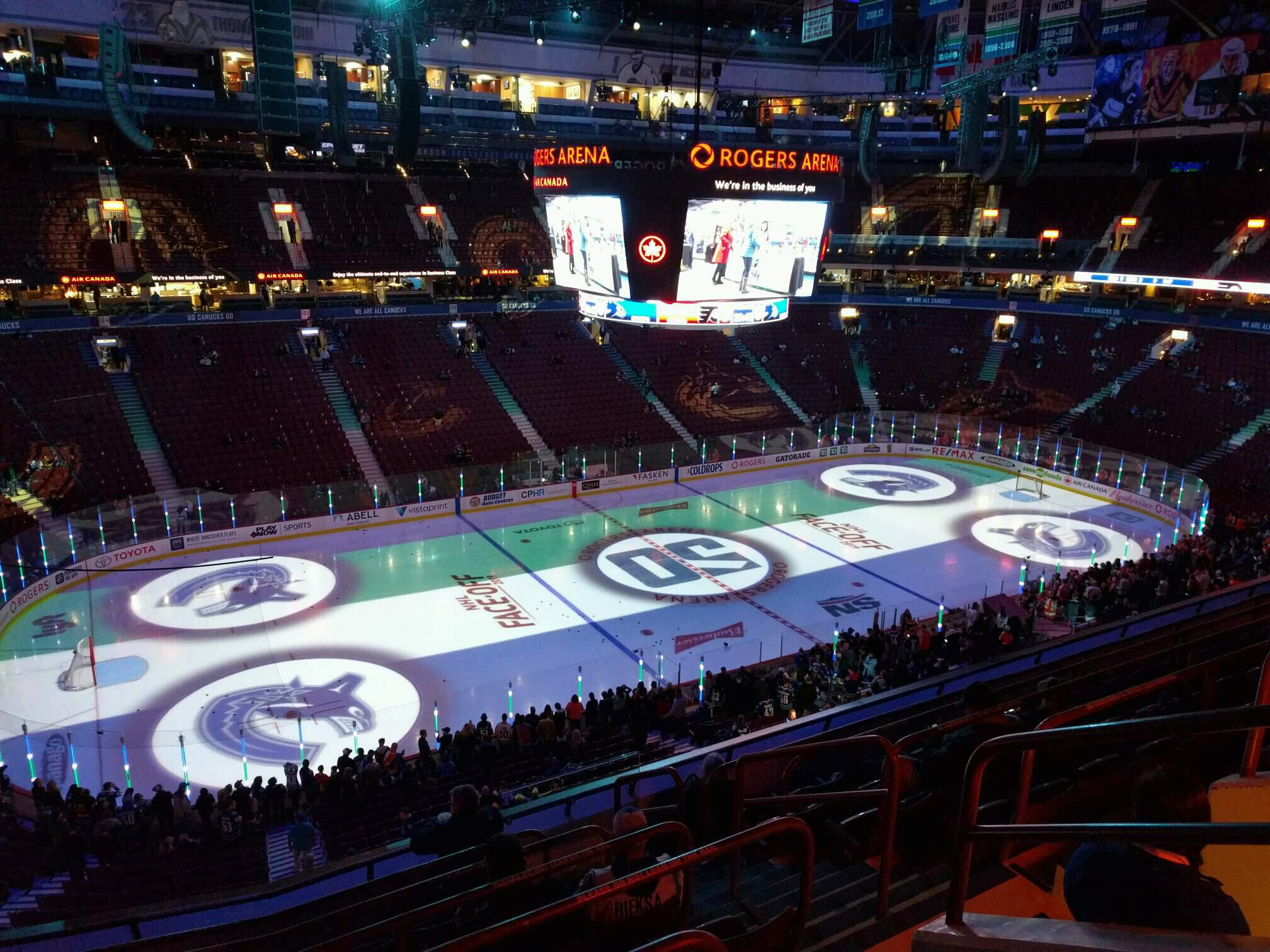 Rogers Arena Section 325 Row 8 Seat 103