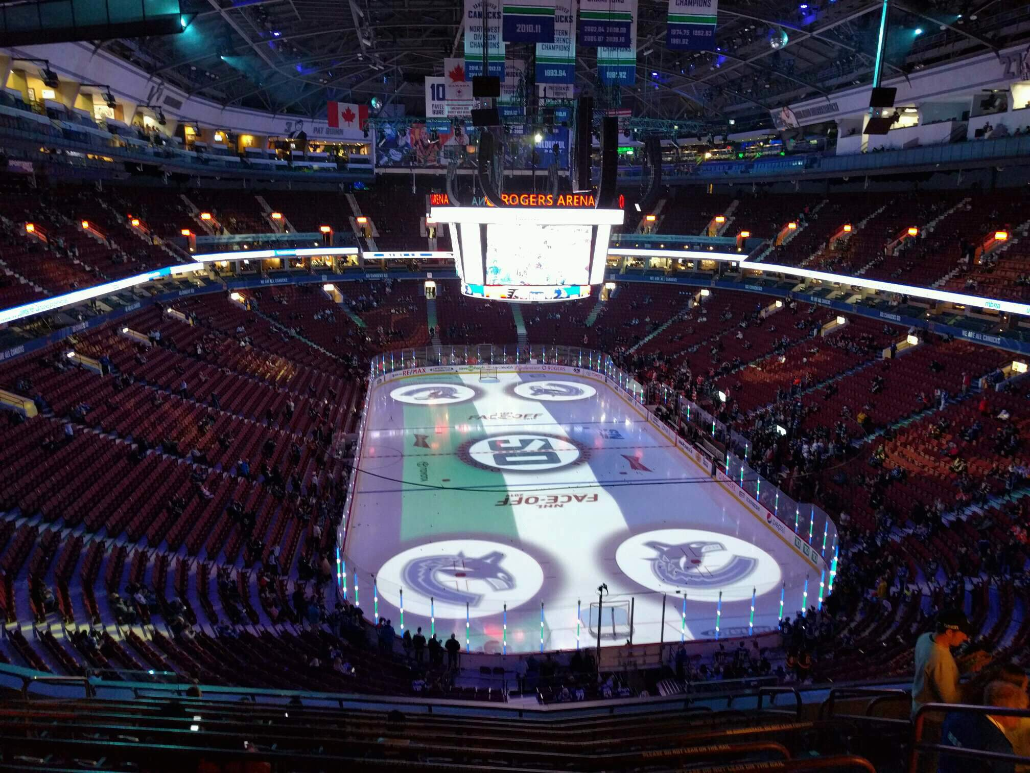 Rogers Arena Section 301 Row 11 Seat 108