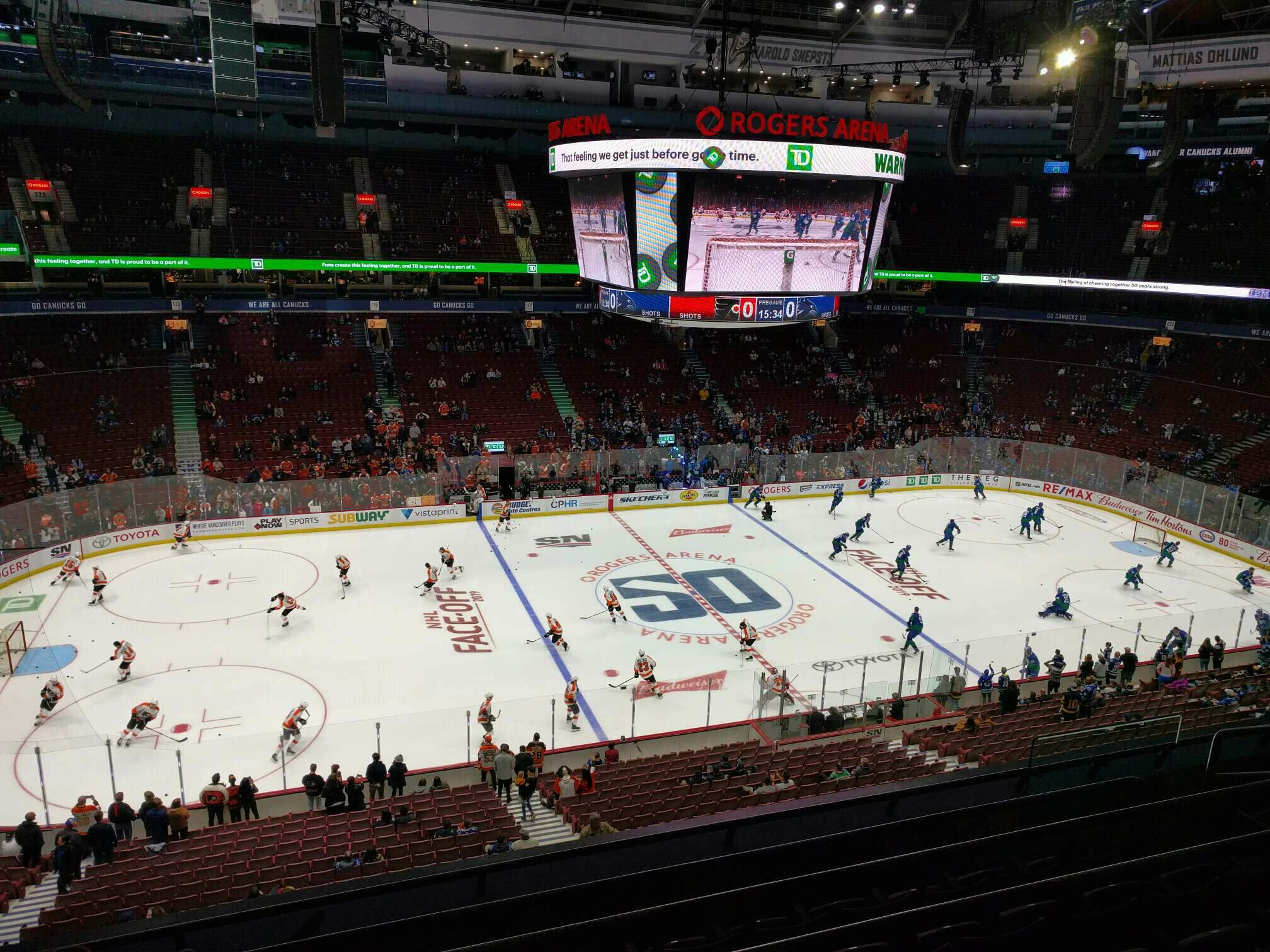 Rogers Arena Section 309 Row 6 Seat 107