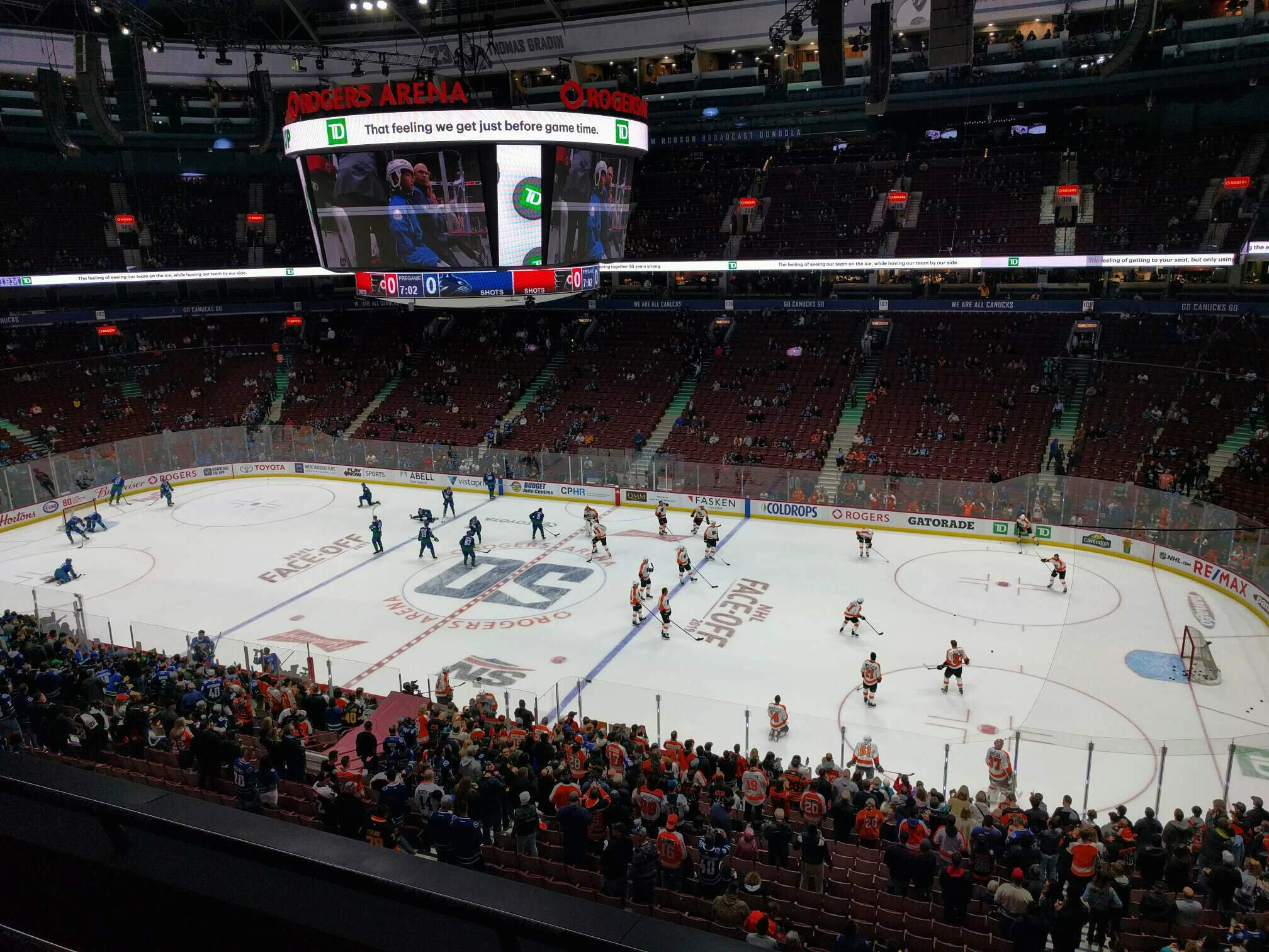 Rogers Arena Section 321 Row 3 Seat 102