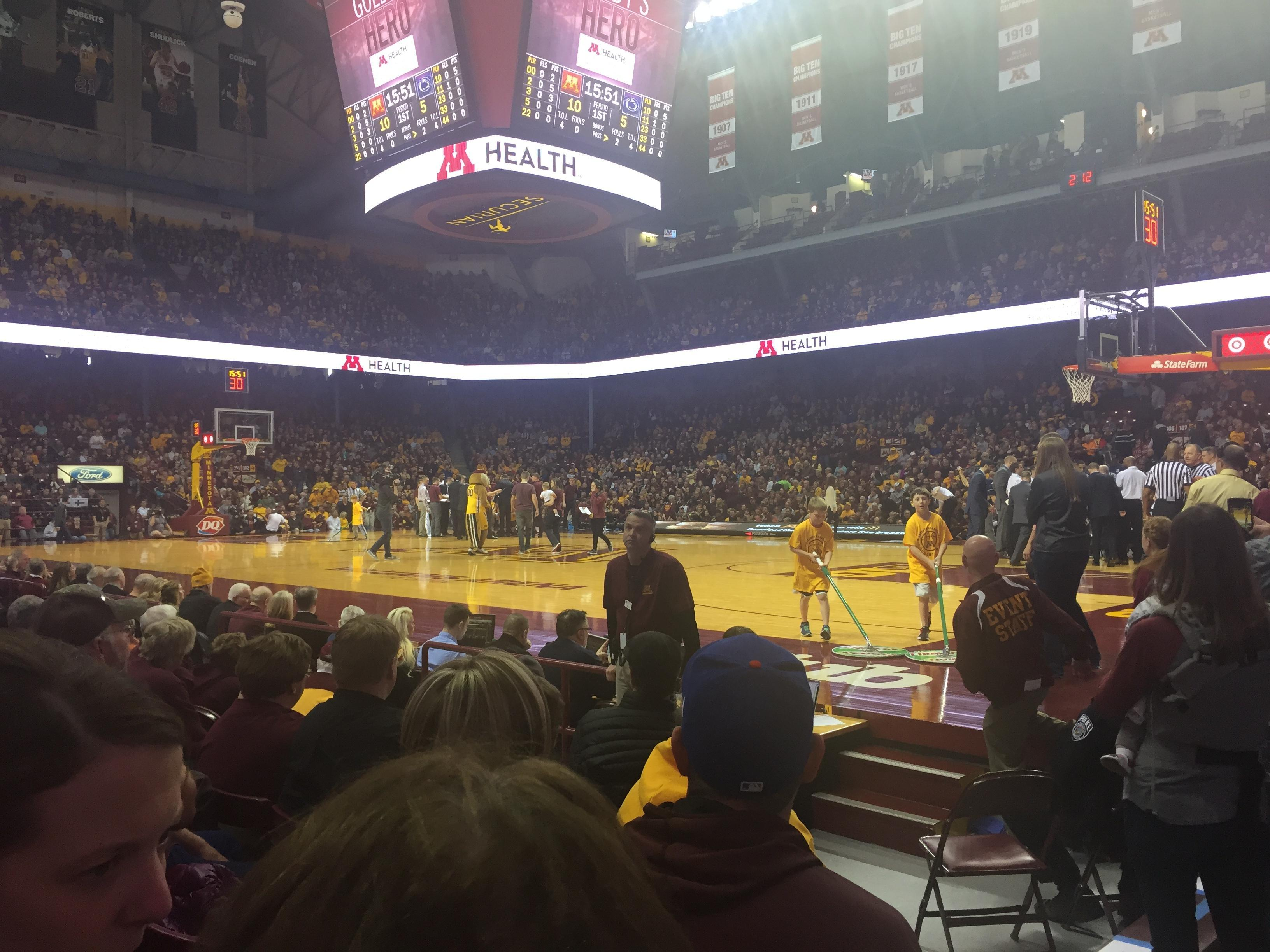 Williams Arena Section 114 Row 5 Seat 1